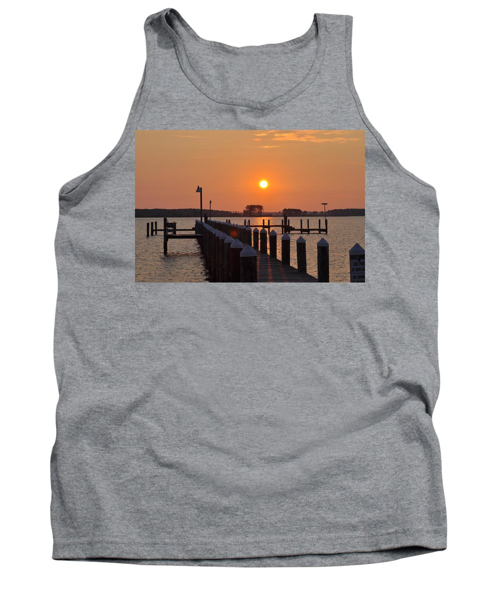 Piney Point Tank Top featuring the photograph Piney Point Sunrise by Bill Cannon