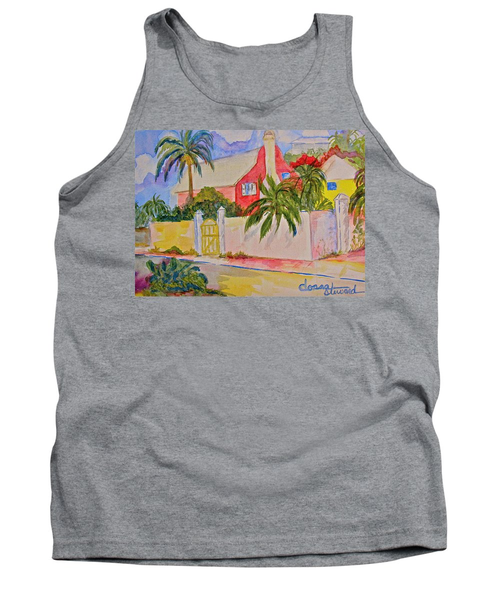 Island House Tank Top featuring the painting Pink House by Donna Steward