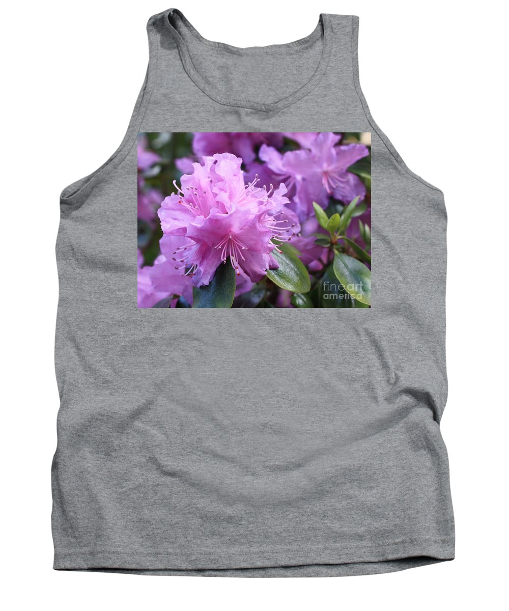 Flower Tank Top featuring the photograph Light Purple Rhododendron With Leaves by Carol Groenen