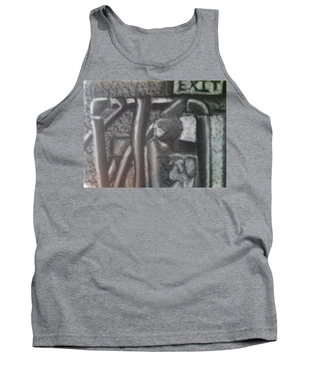 Charcoal Tank Top featuring the drawing Pipes by Adam Norman