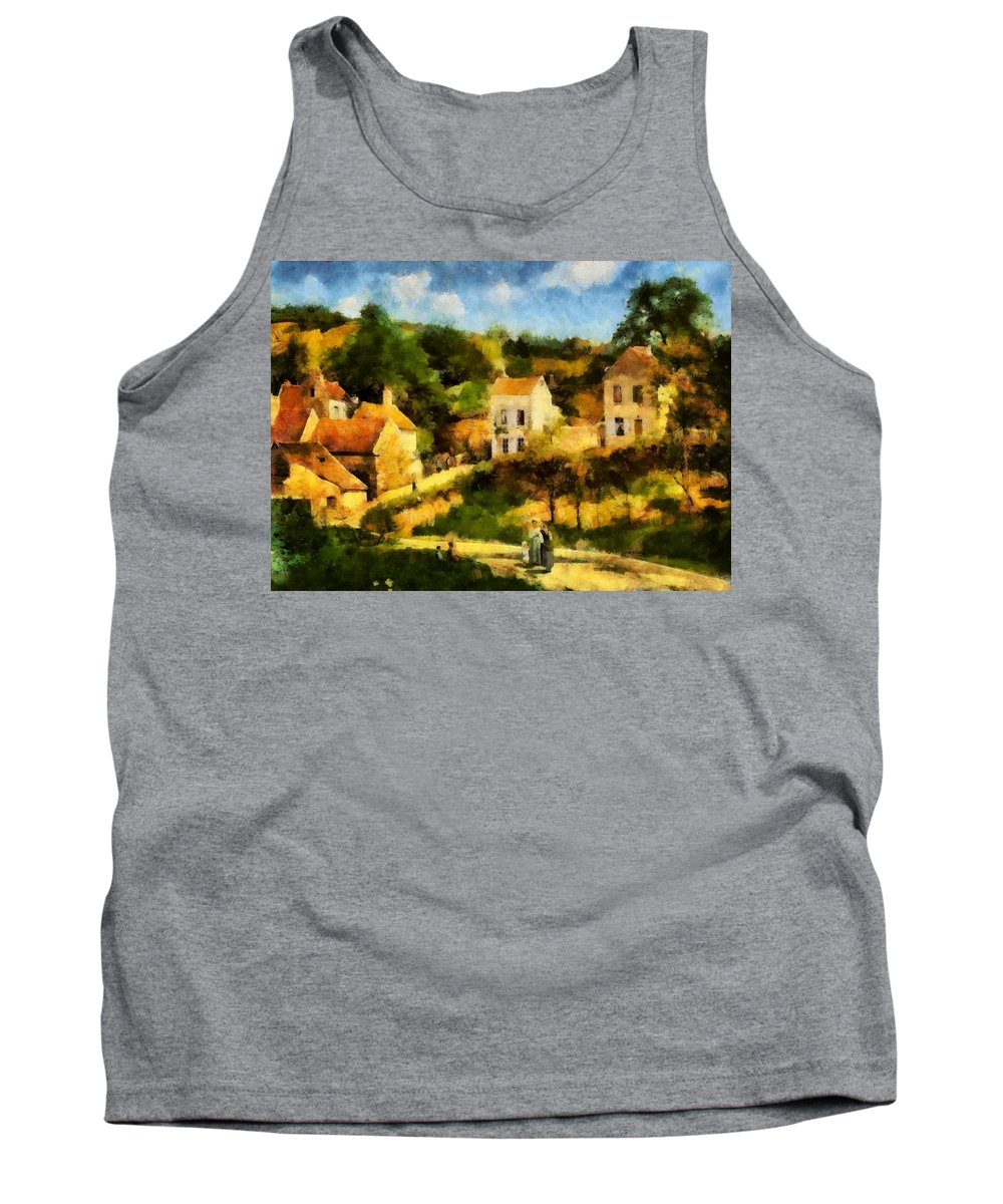 Digital Painting Tank Top featuring the painting Pissaro L,hermitage by Mario Carini