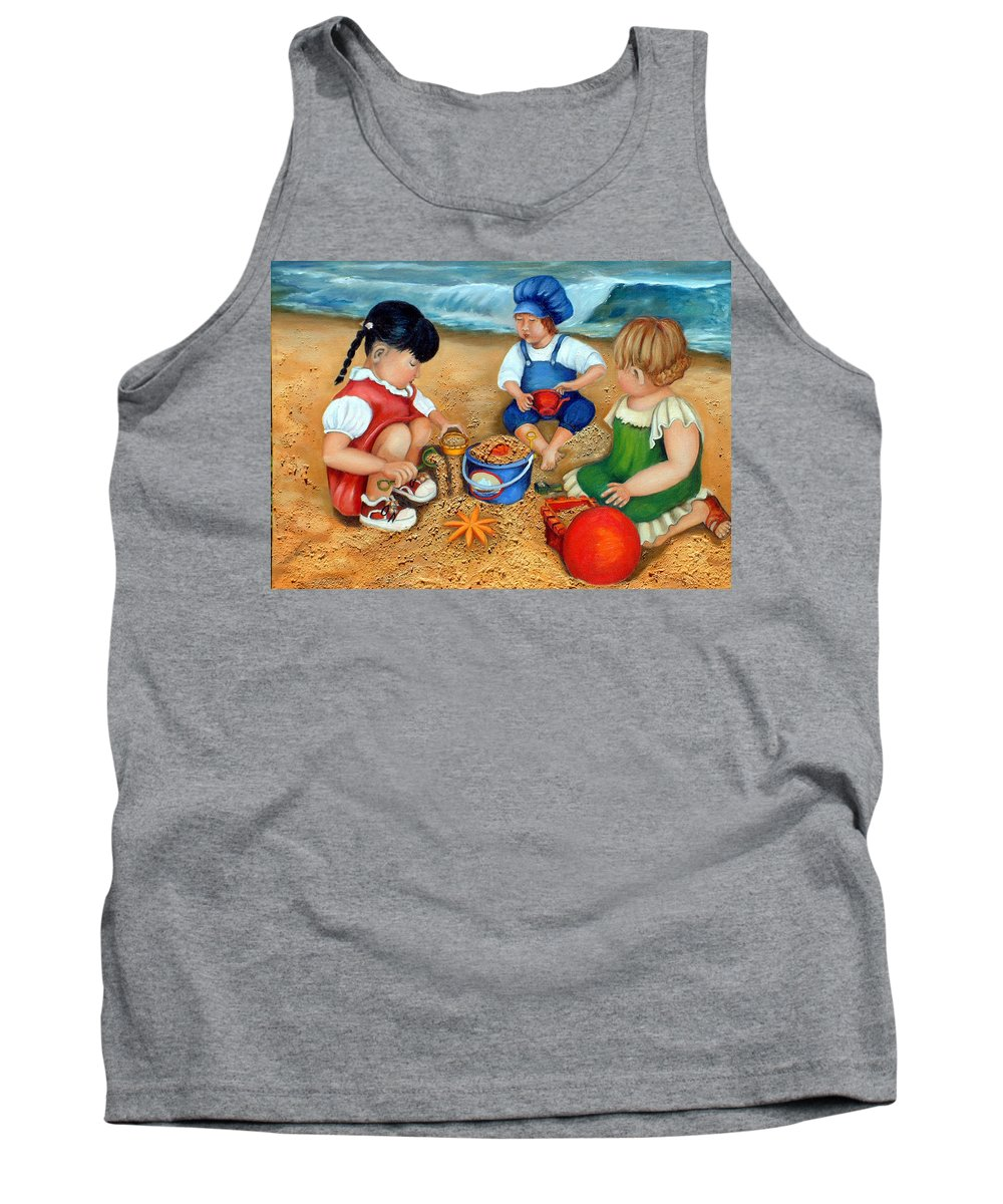 Beach Tank Top featuring the painting Playtime At The Beach by Portraits By NC