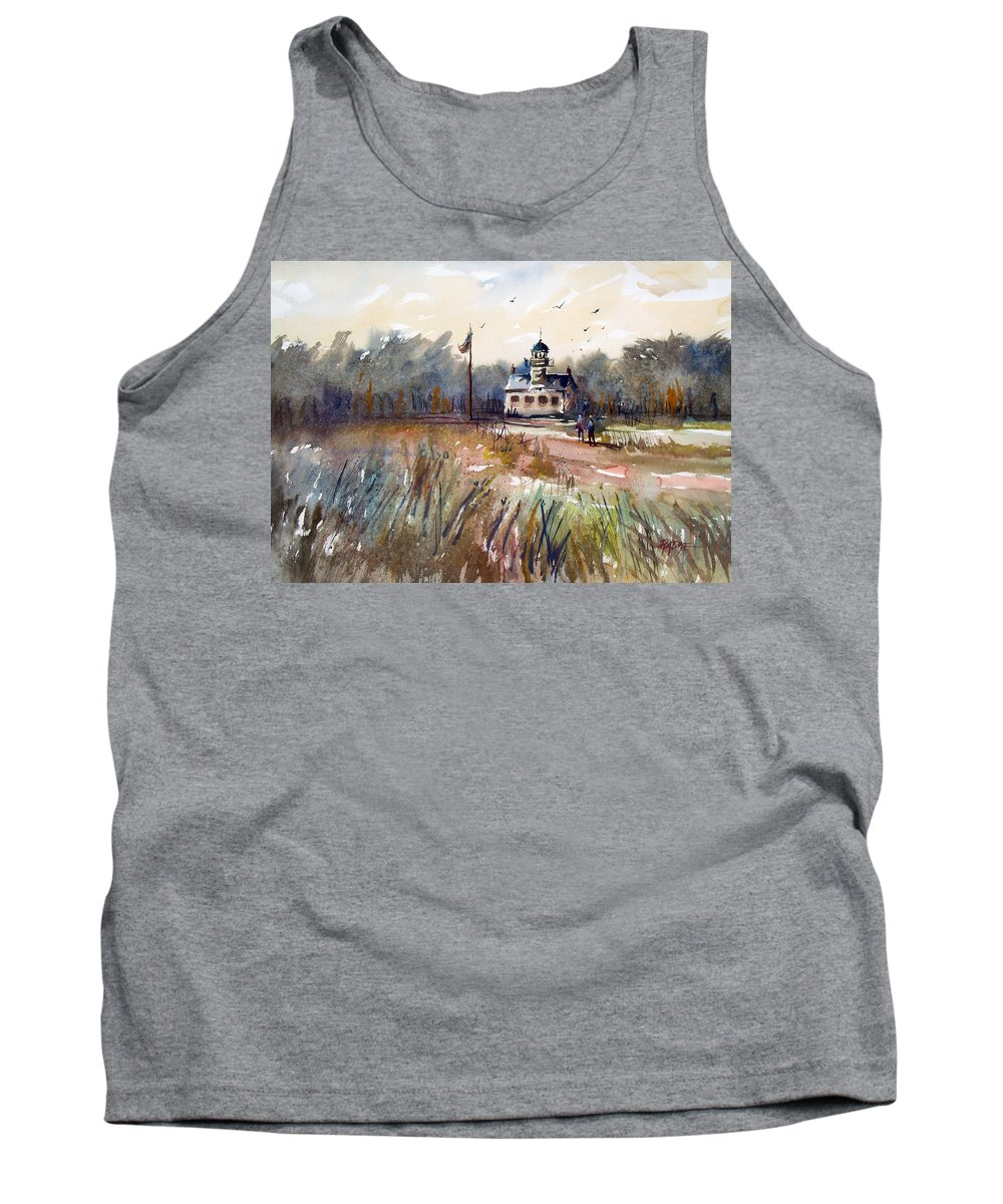 Watercolor Tank Top featuring the painting Point Pinos Lighthouse by Ryan Radke