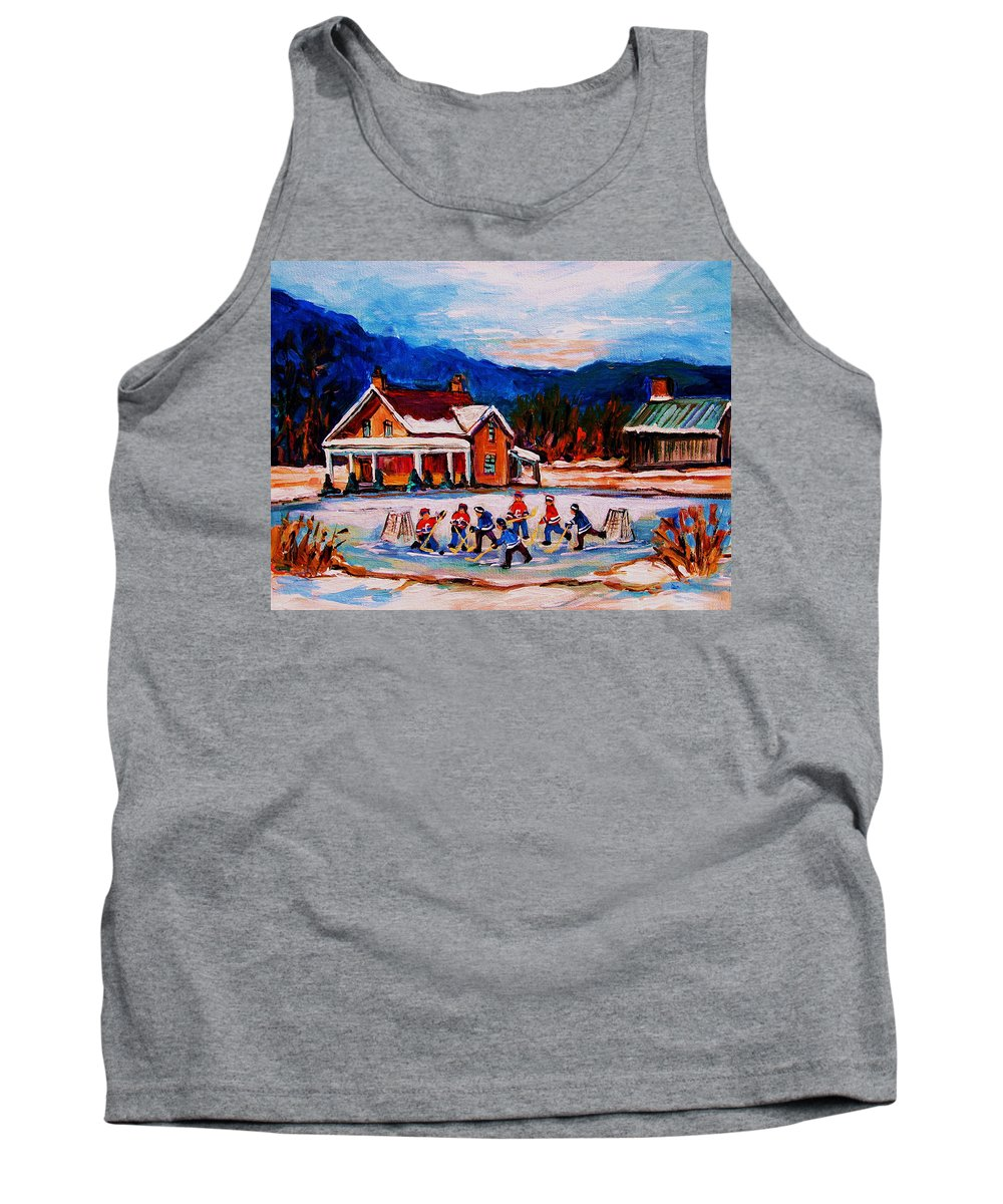 Hockey Tank Top featuring the painting Pond Hockey by Carole Spandau