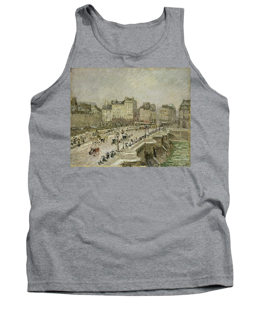 Pont Tank Top featuring the painting Pont Neuf Snow Effect by Camille Pissarro