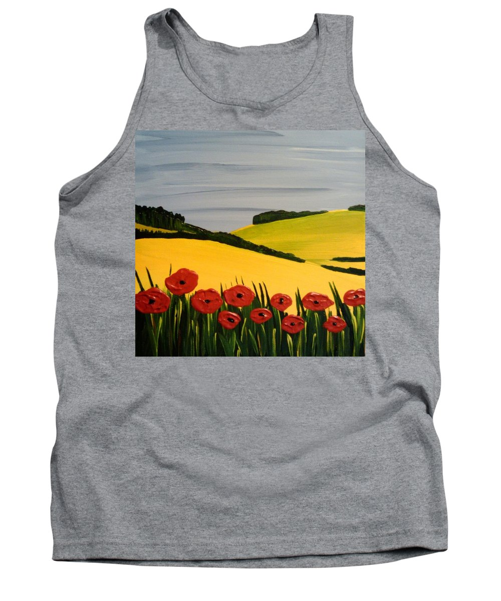 Yellow Tank Top featuring the painting Poppies In The Hills by Edmund Akers