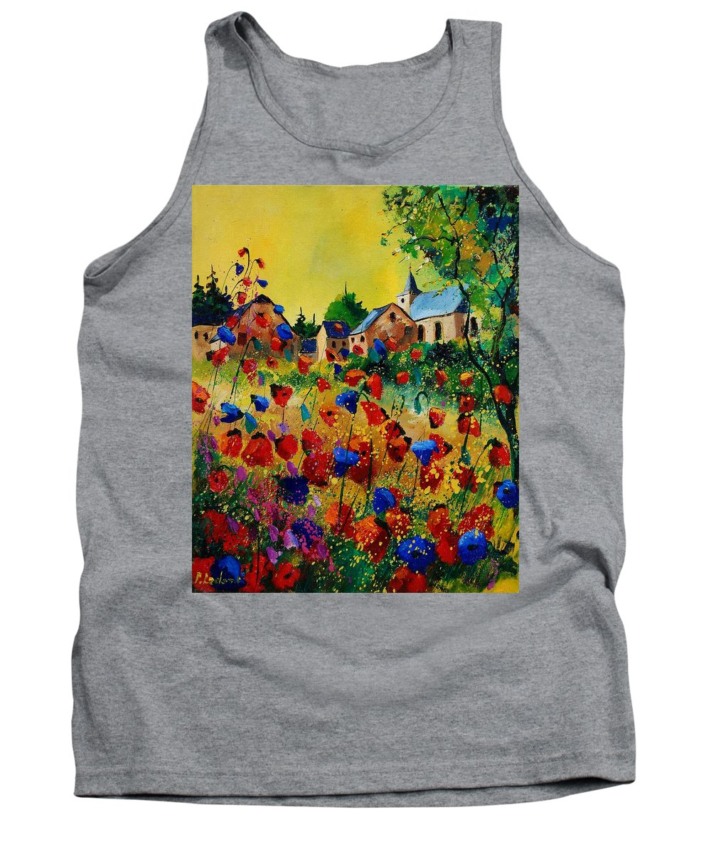 Flowers Tank Top featuring the painting Poppies Sosoye by Pol Ledent