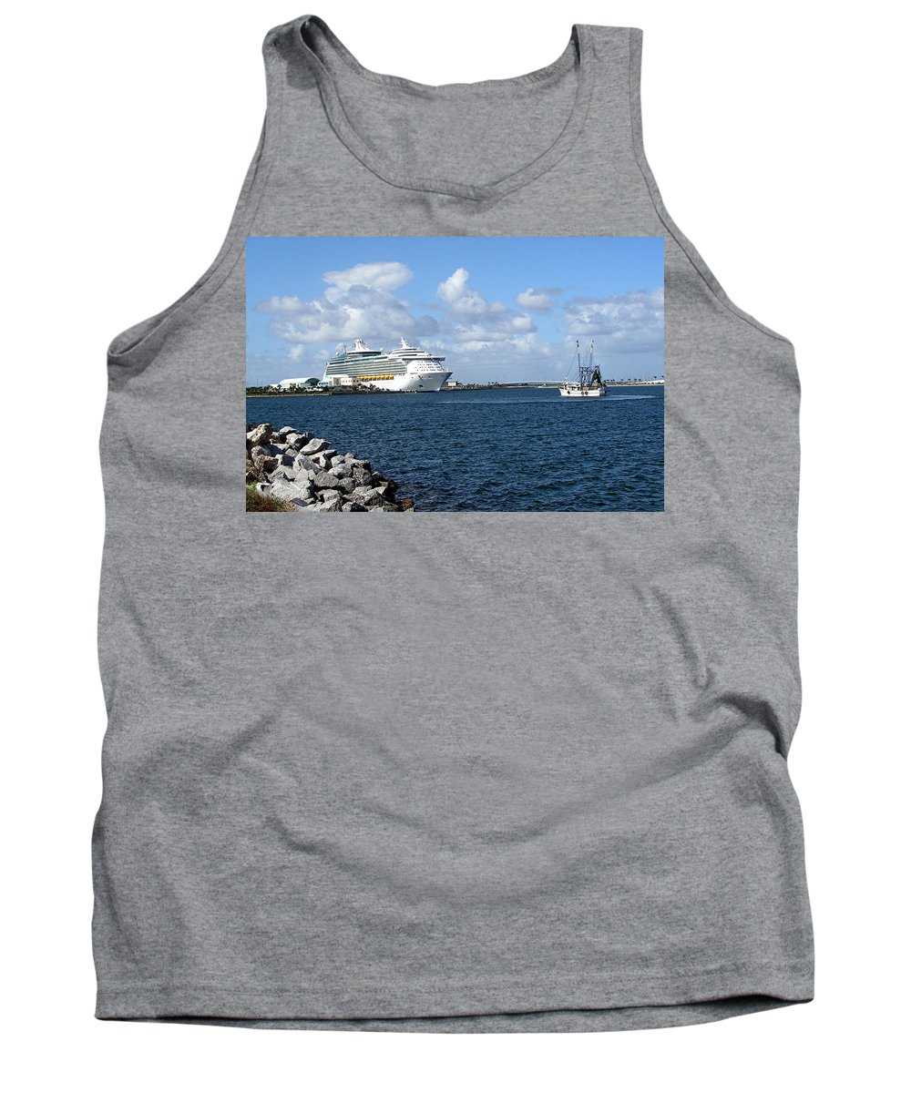 Cruise; Ships; Cruiseship; Ocean; Liner; Oceanliner; Port; Canaveral; Florida; Harbor; Harbour; Blue Tank Top featuring the photograph Port Canaveral In Floirda by Allan Hughes