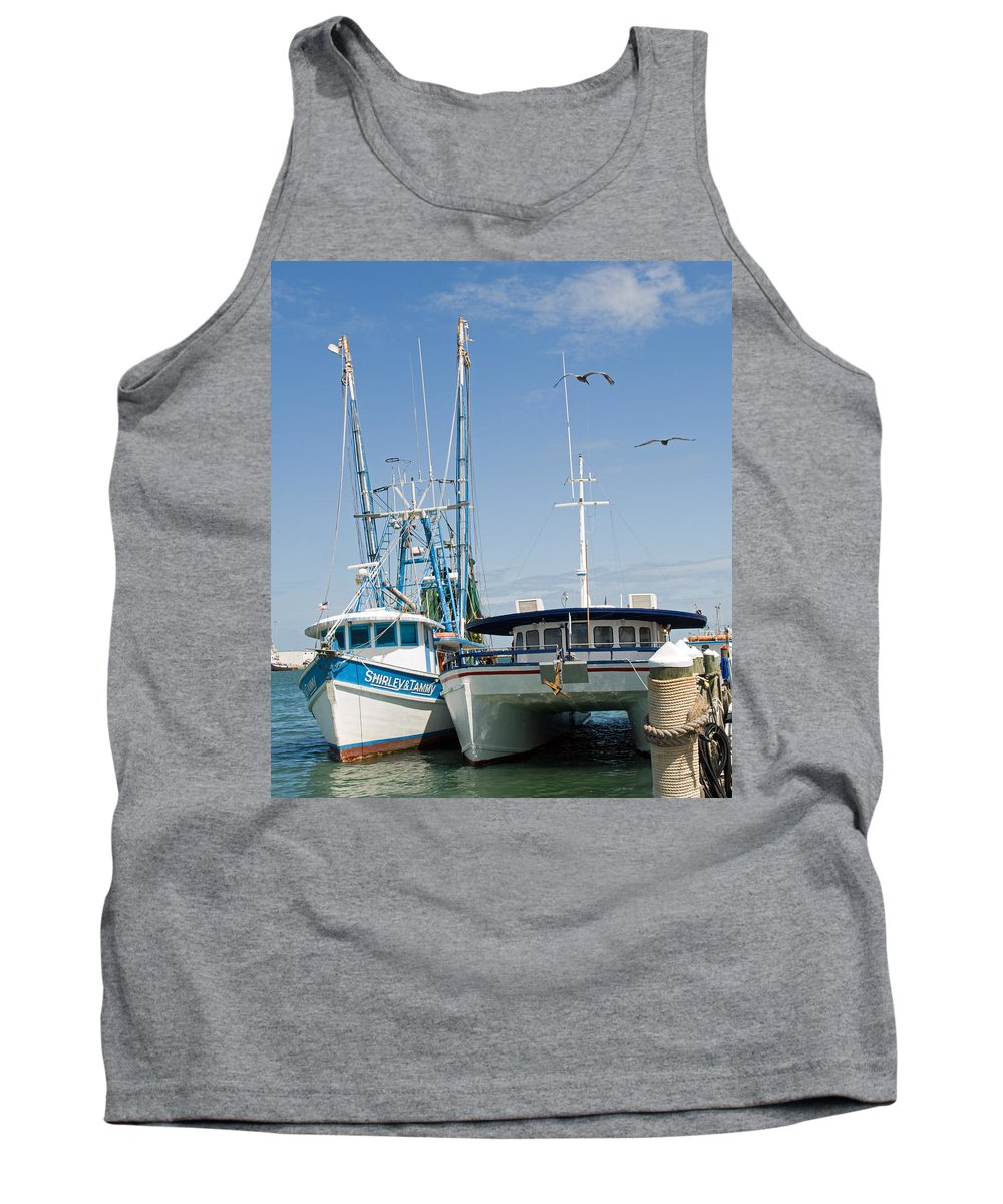 Florida; East; Coast; Atlantic; Ocean; Sea; Port; Canaberal; Harbor; Harbour; Boat; Shrimp; Party; C Tank Top featuring the photograph Port Canaveral On The East Coast Of Florida by Allan Hughes