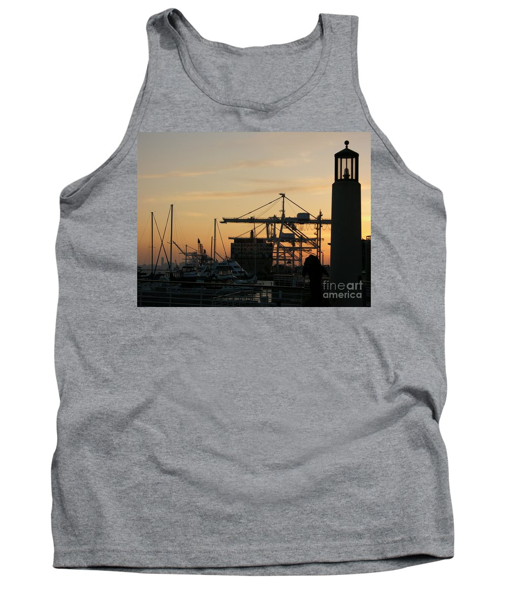 Oakland Tank Top featuring the photograph Port Of Oakland Sunset by Carol Groenen