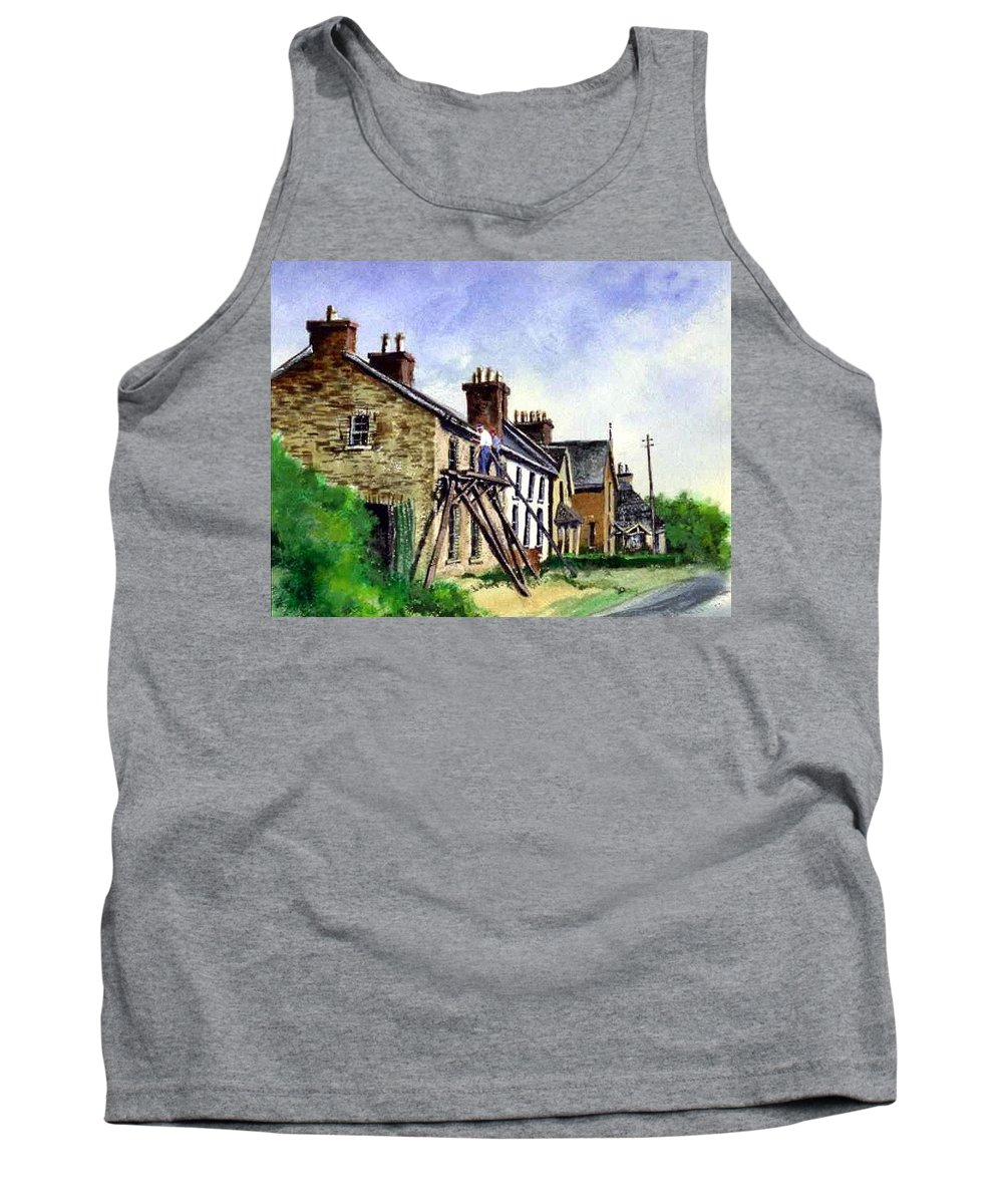 Water Color Tank Top featuring the painting Port Rush Gutter Repair by Jim Gola