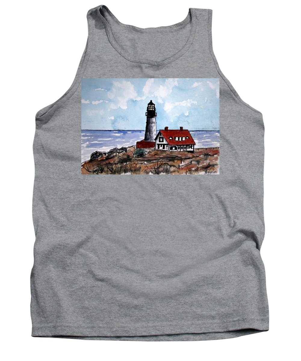 Lighthouse Paintings Tank Top featuring the painting Portland Head Lighthouse by Derek Mccrea