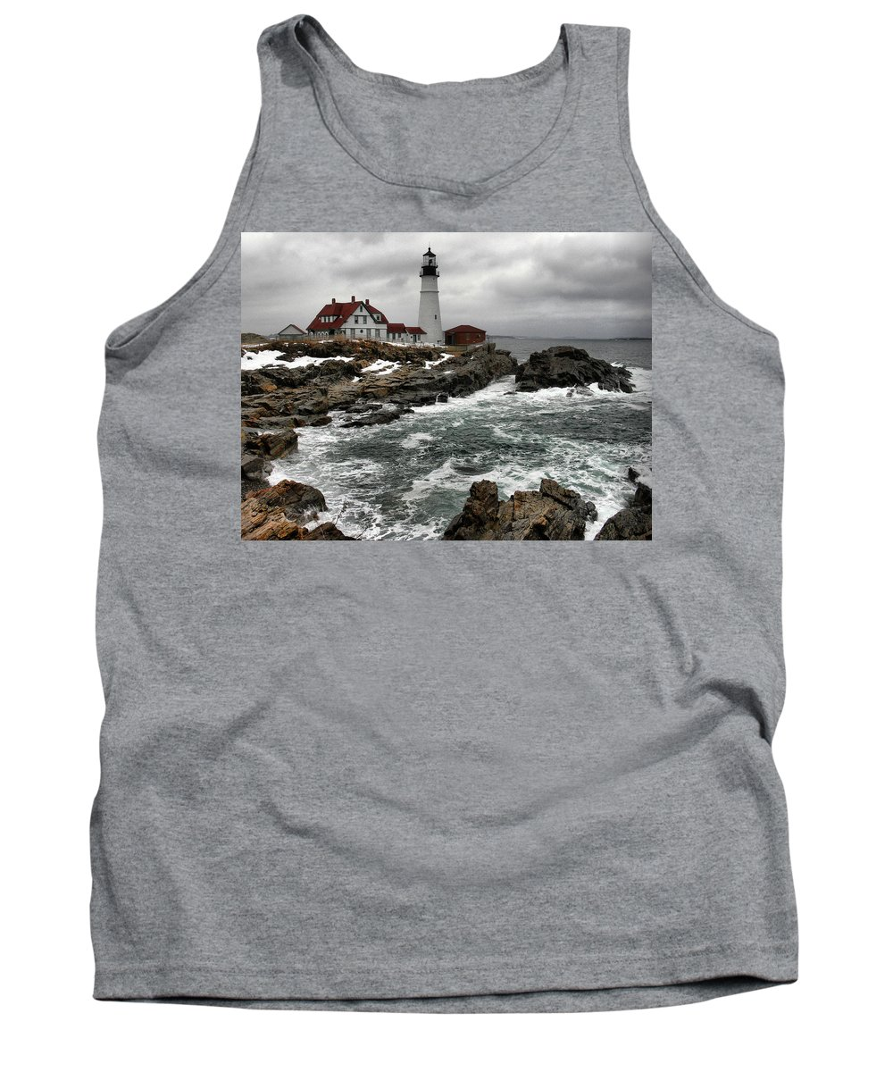New England Lighthouse Tank Top featuring the photograph Portlandhead Lighthouse by Nancie DeMellia