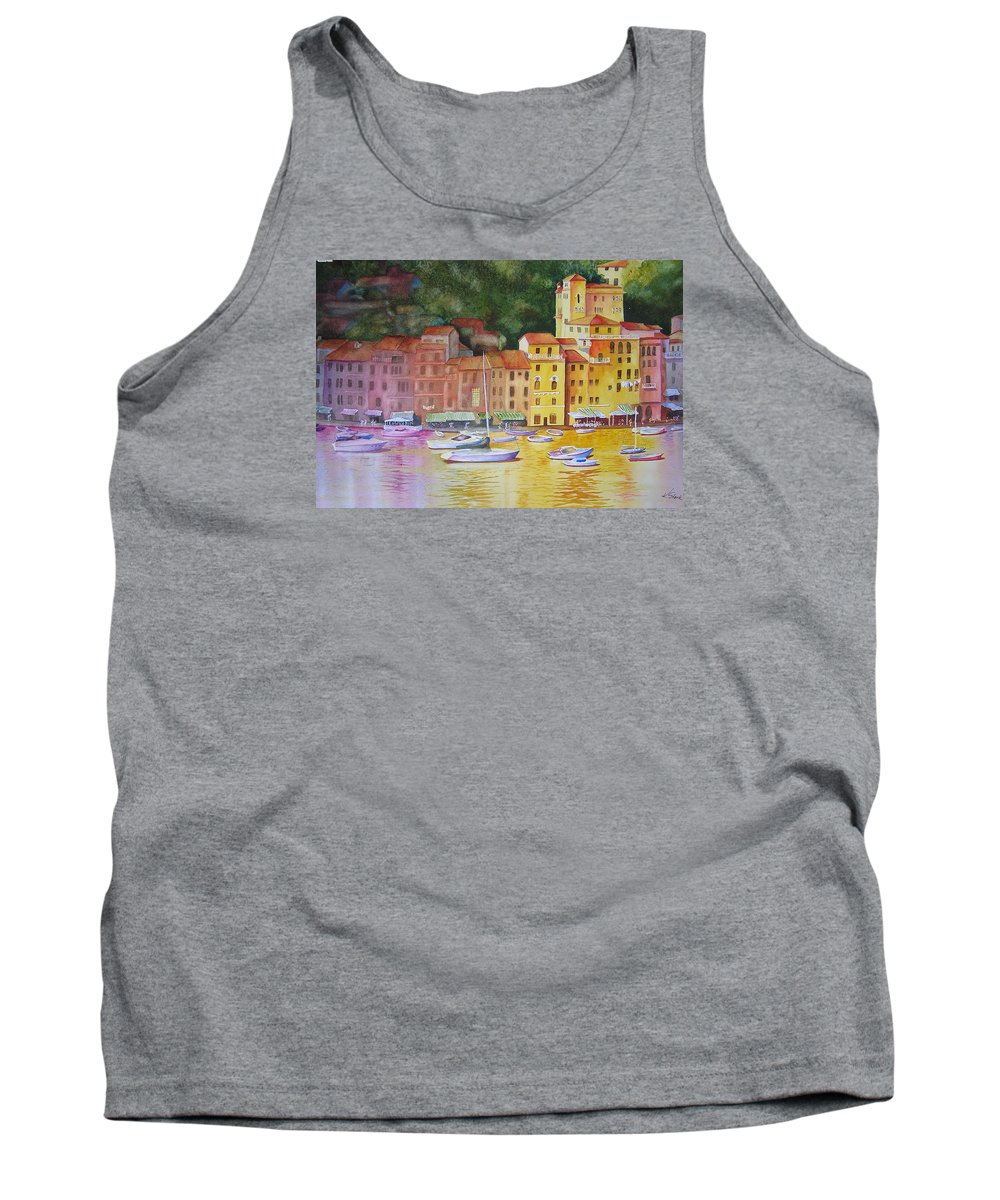 Italy Tank Top featuring the painting Portofino Afternoon by Karen Stark