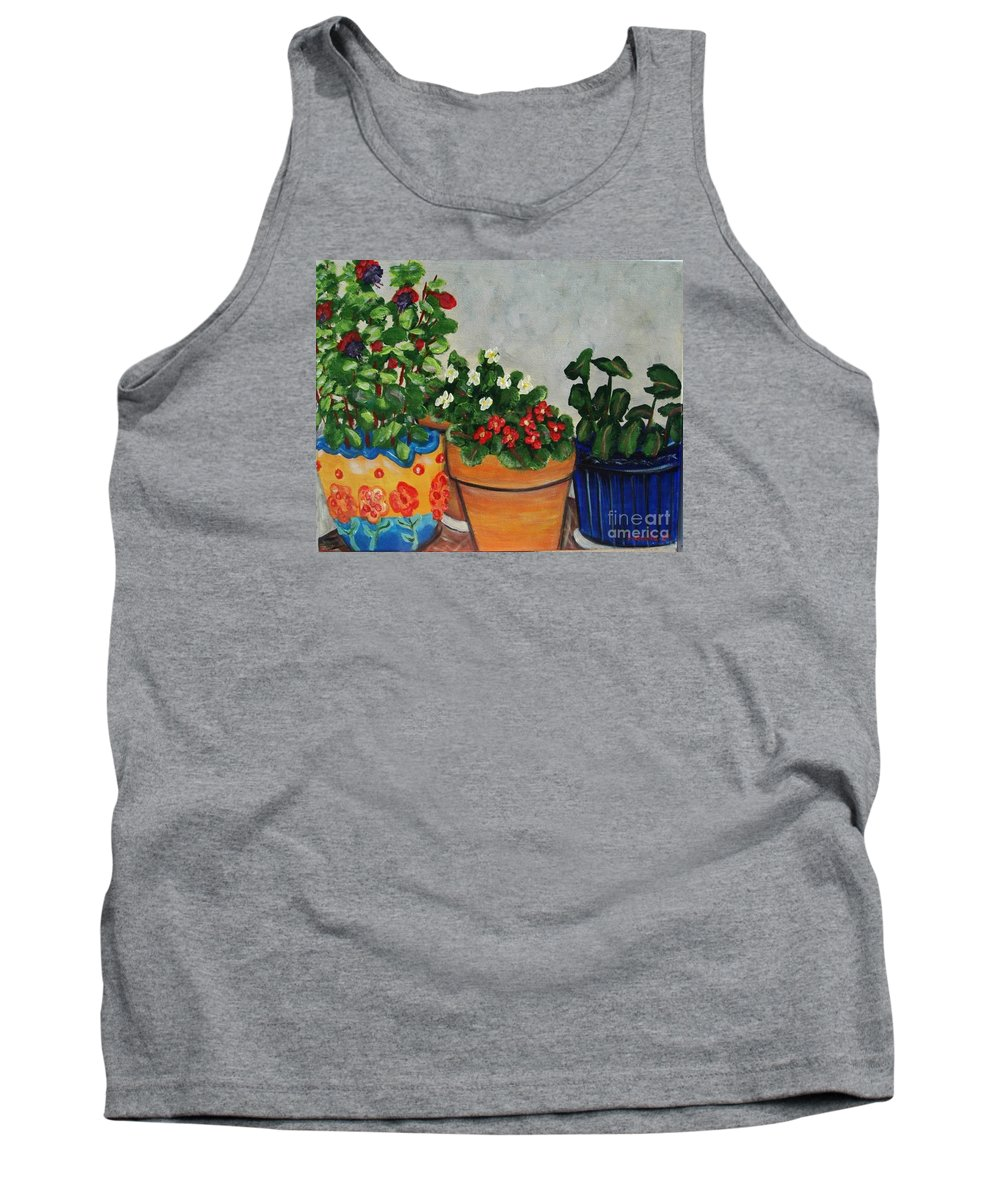 Ceramic Pots Tank Top featuring the painting Pots Showing Off by Laurie Morgan