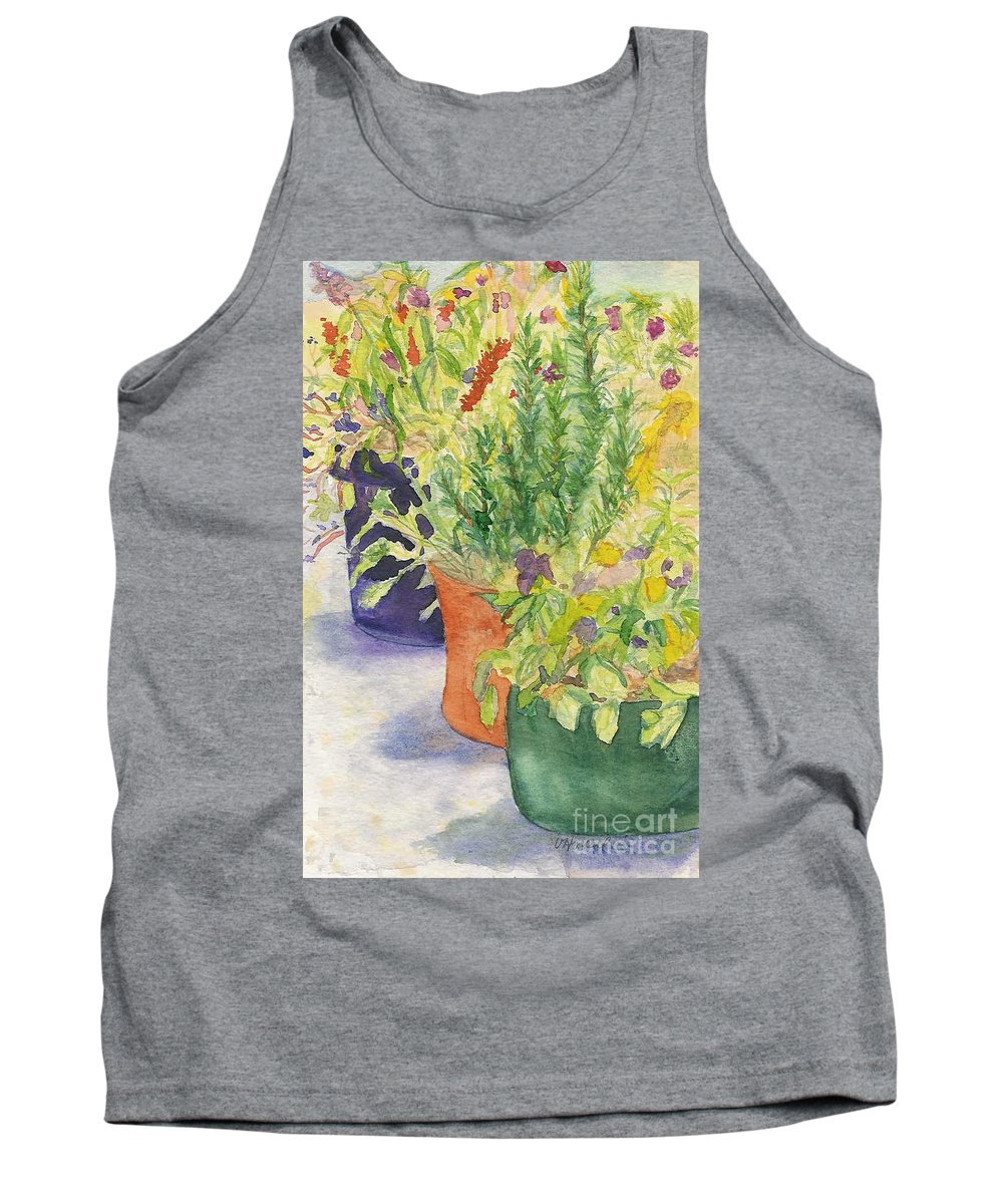 Potted Plants Tank Top featuring the painting Potted Beauties by Vicki Housel