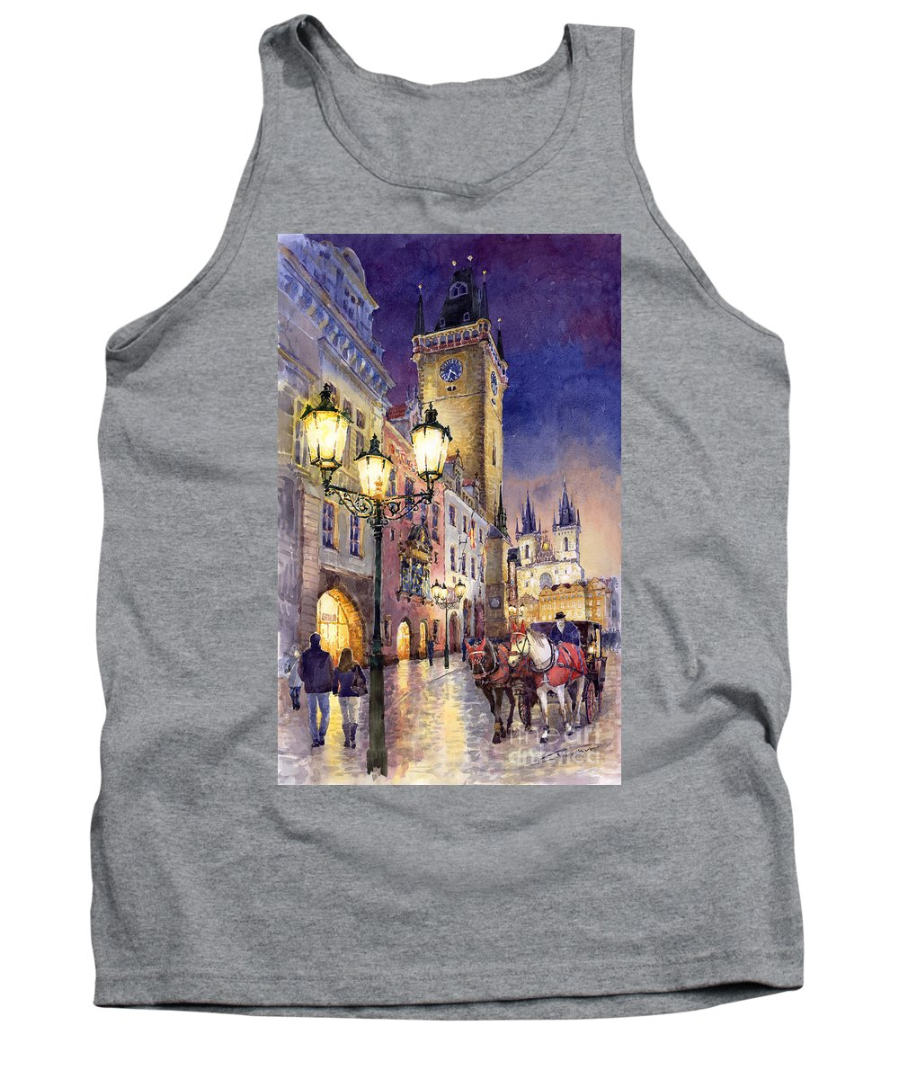 Cityscape Tank Top featuring the painting Prague Old Town Square 3 by Yuriy Shevchuk