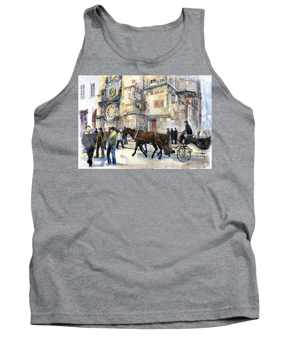 Watercolour Tank Top featuring the painting Prague Old Town Square Astronomical Clock Or Prague Orloj by Yuriy Shevchuk