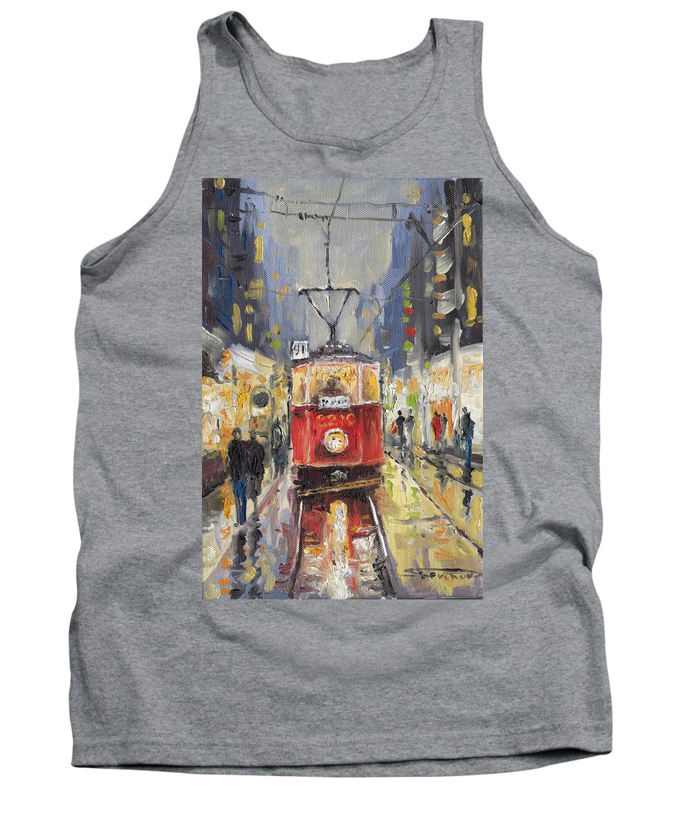 Oil Tank Top featuring the painting Prague Old Tram 08 by Yuriy Shevchuk