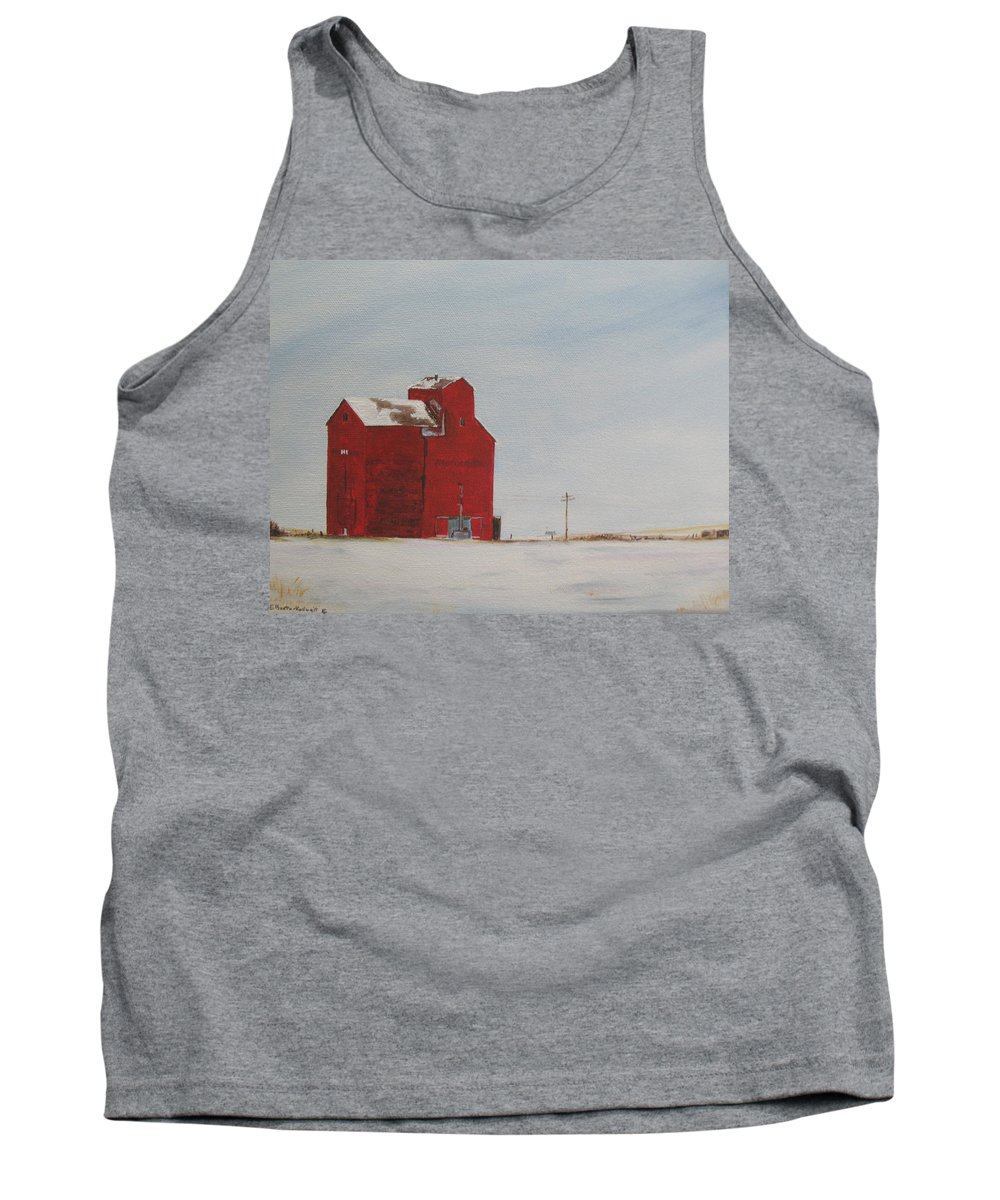 Grain Elevators Tank Top featuring the painting Prairie Giants I by Elaine Booth-Kallweit