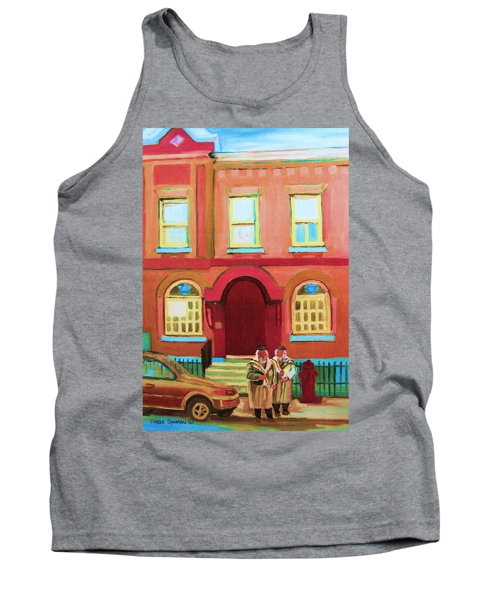 Bagg Street Synagogue Tank Top featuring the painting Prayer Shawls by Carole Spandau