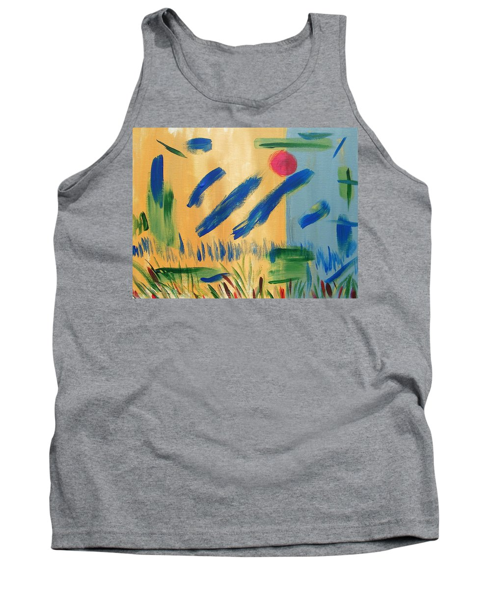 Abstract Tank Top featuring the painting Primitive Paradise by Lenore Senior