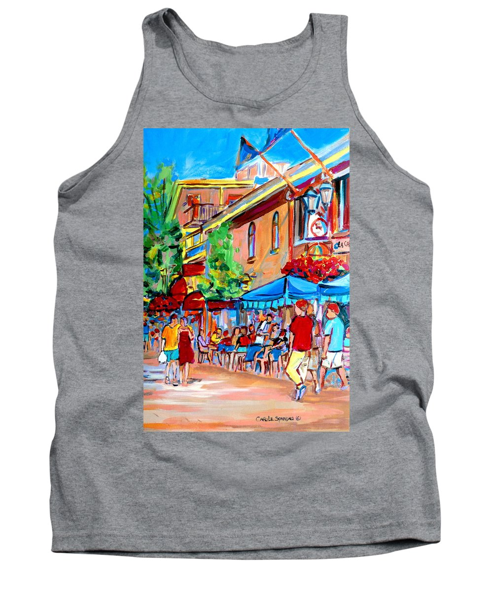 Cafes Tank Top featuring the painting Prince Arthur Street Summer by Carole Spandau