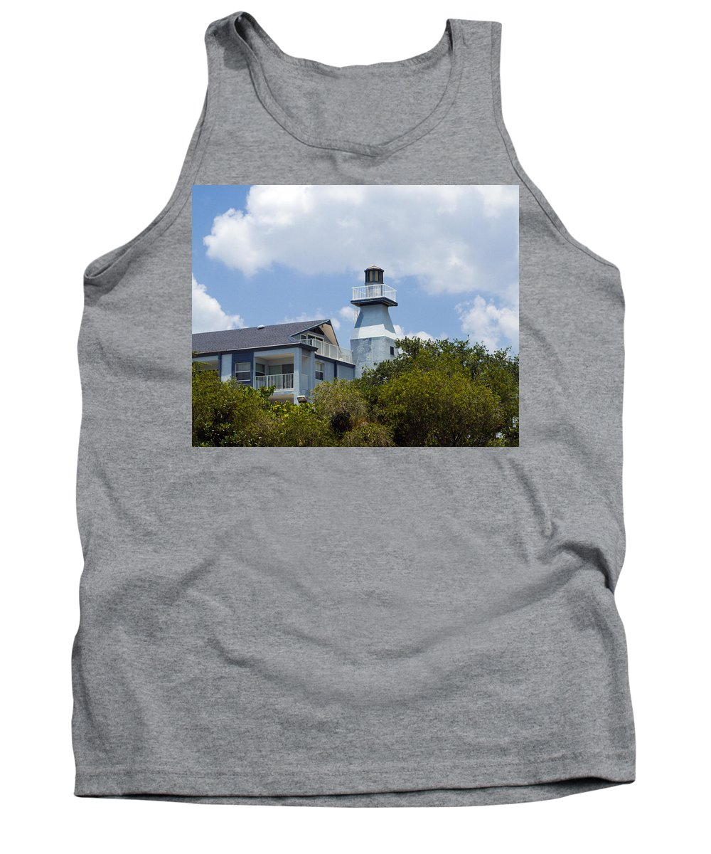Light; Lighthouse; Private; Beacon; Keeper; Harbor; Harbour; Sail; Sailing; Boats; Boat; Craft; Anch Tank Top featuring the photograph Private Lighthouse On The Indian River Lagoon In Melbourne Florida by Allan Hughes