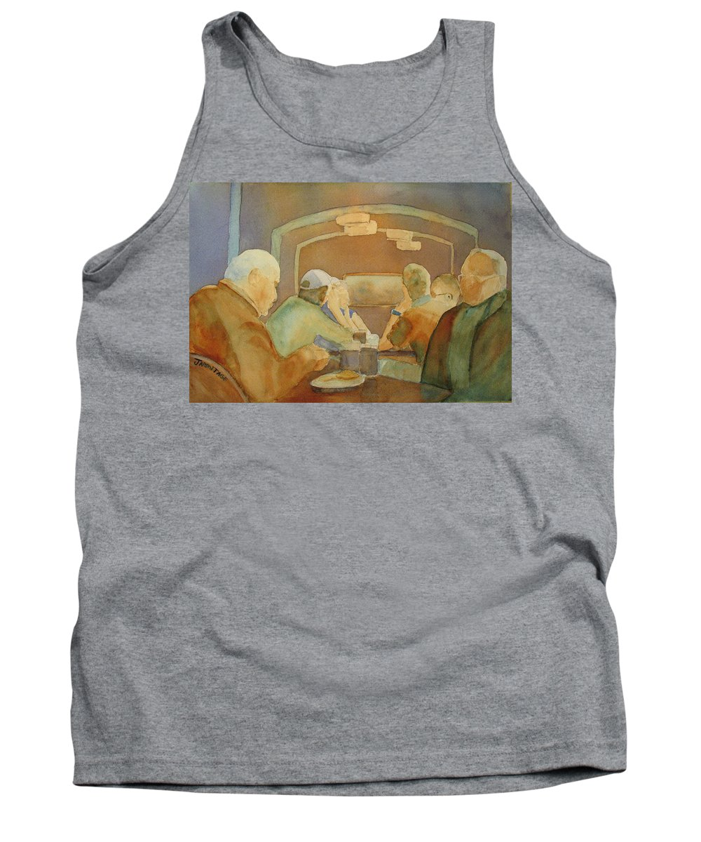 Men Tank Top featuring the painting Pub Talk II by Jenny Armitage