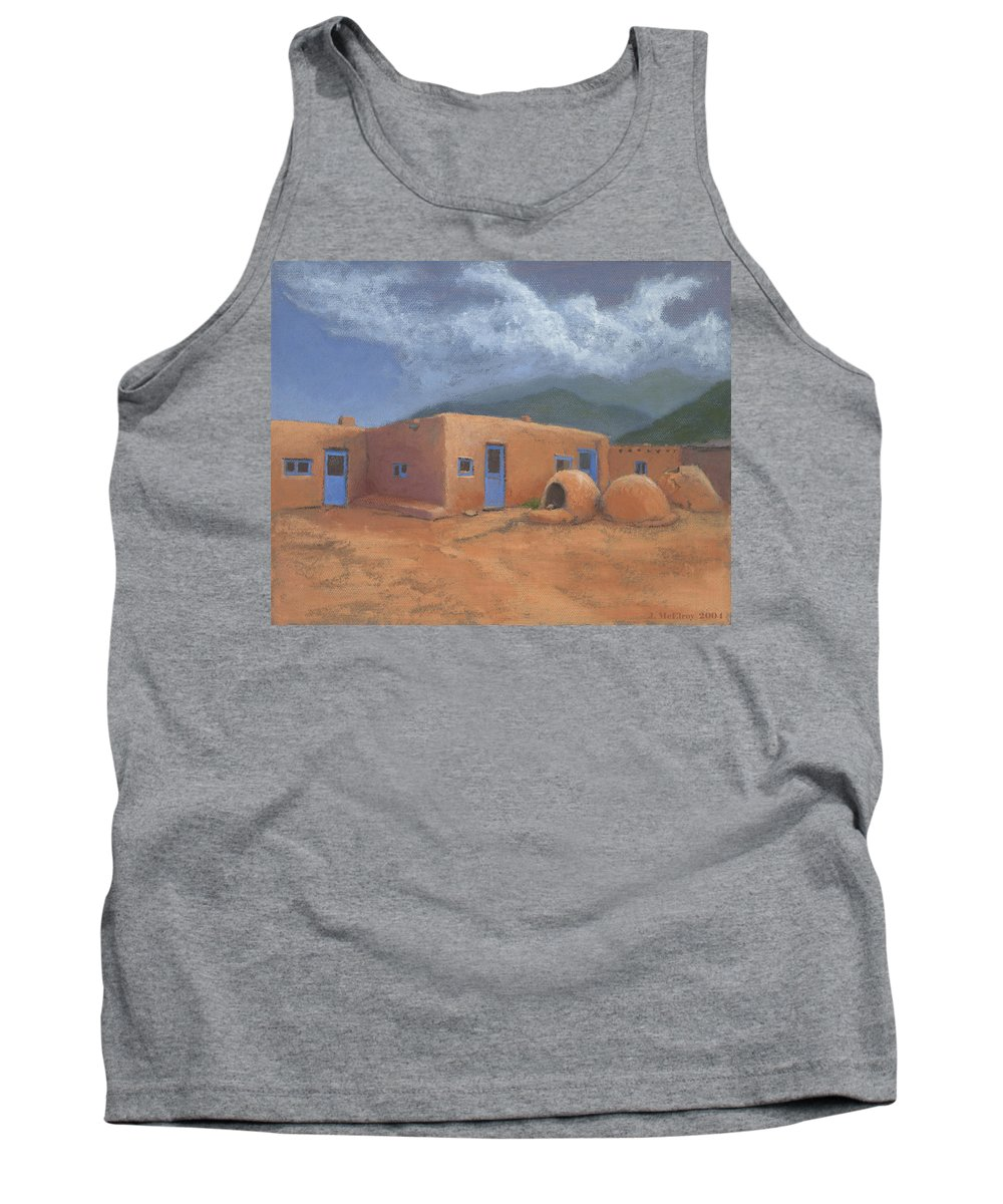 Taos Tank Top featuring the painting Puertas Azul by Jerry McElroy