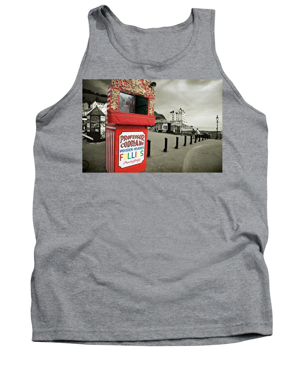 Punch And Judy Tank Top featuring the photograph Punch And Judy Theatre On Llandudno Promenade by Mal Bray