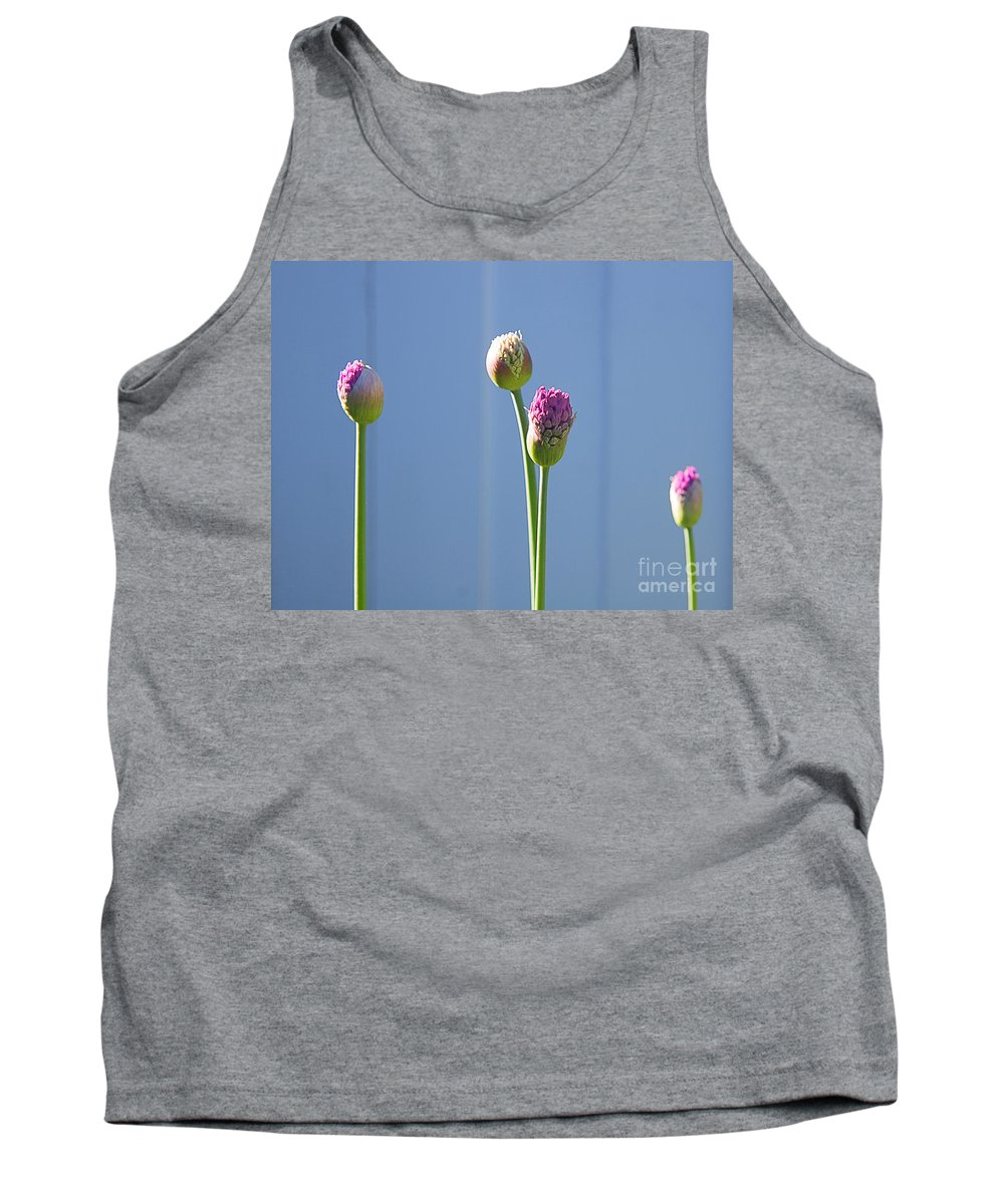 Flower Tank Top featuring the photograph Purple Allium Buds In Early Spring by Louise Heusinkveld