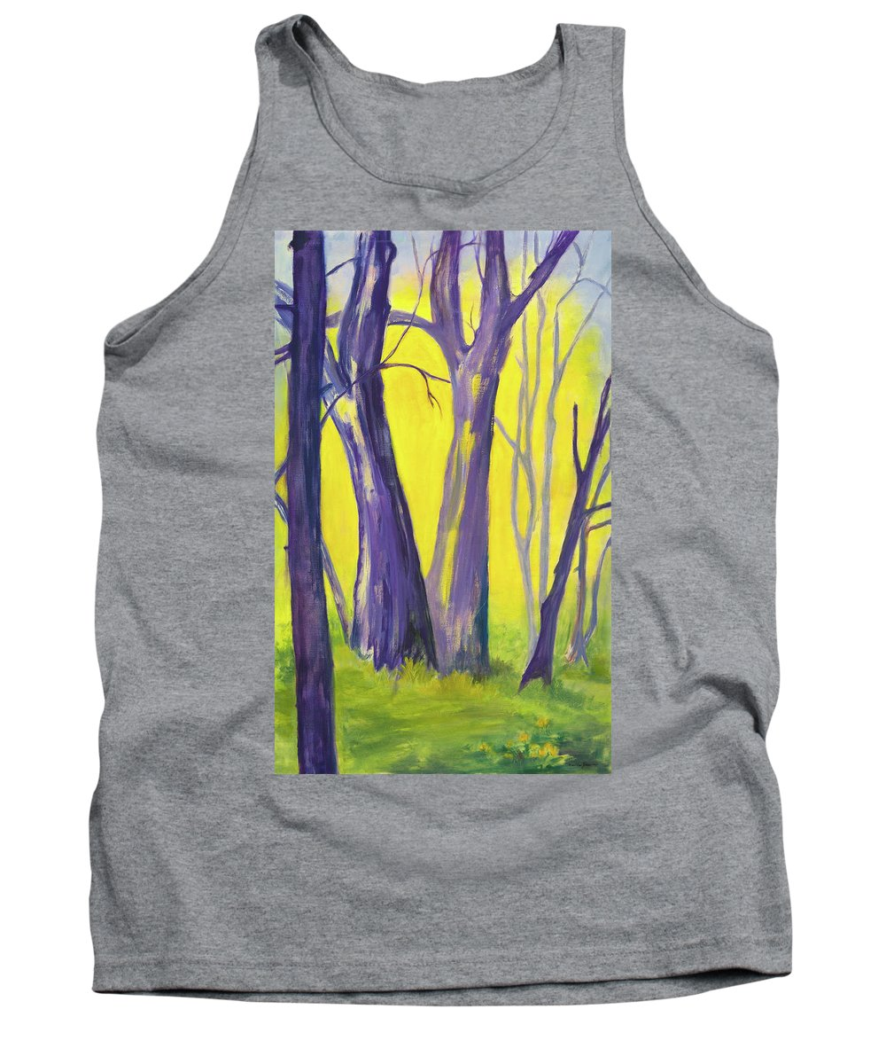 Landscape Tank Top featuring the painting Purple Forest by Martha Zausmer