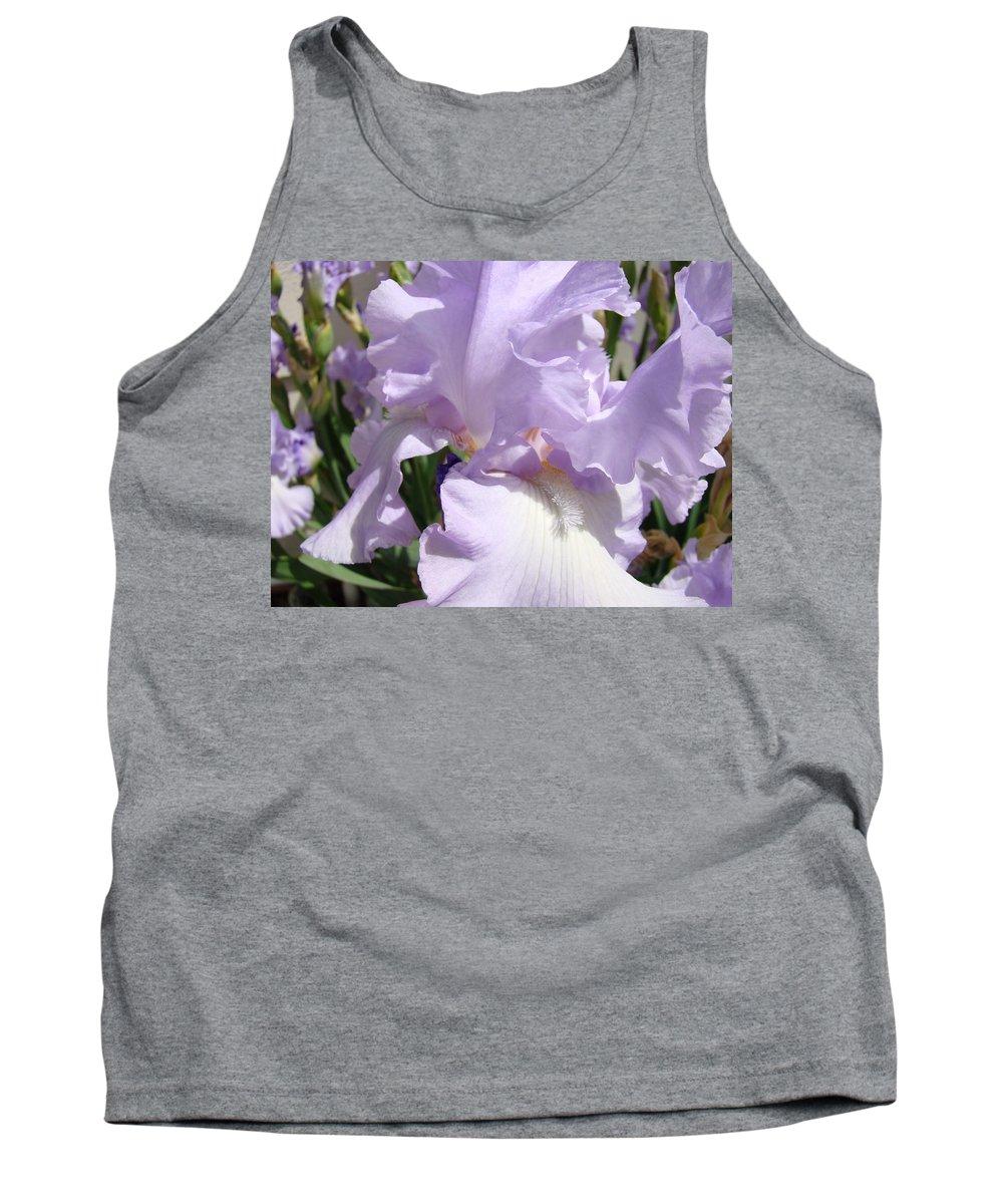 �irises Artwork� Tank Top featuring the photograph Purple Irises Artwork Lavender Iris Flowers 13 Botanical Floral Art Baslee Troutman by Baslee Troutman
