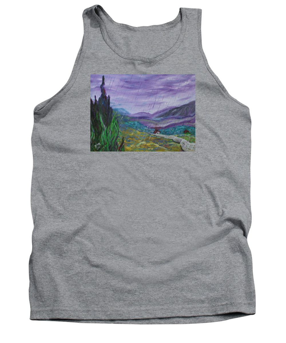 Rain Tank Top featuring the painting Rain by David McGhee
