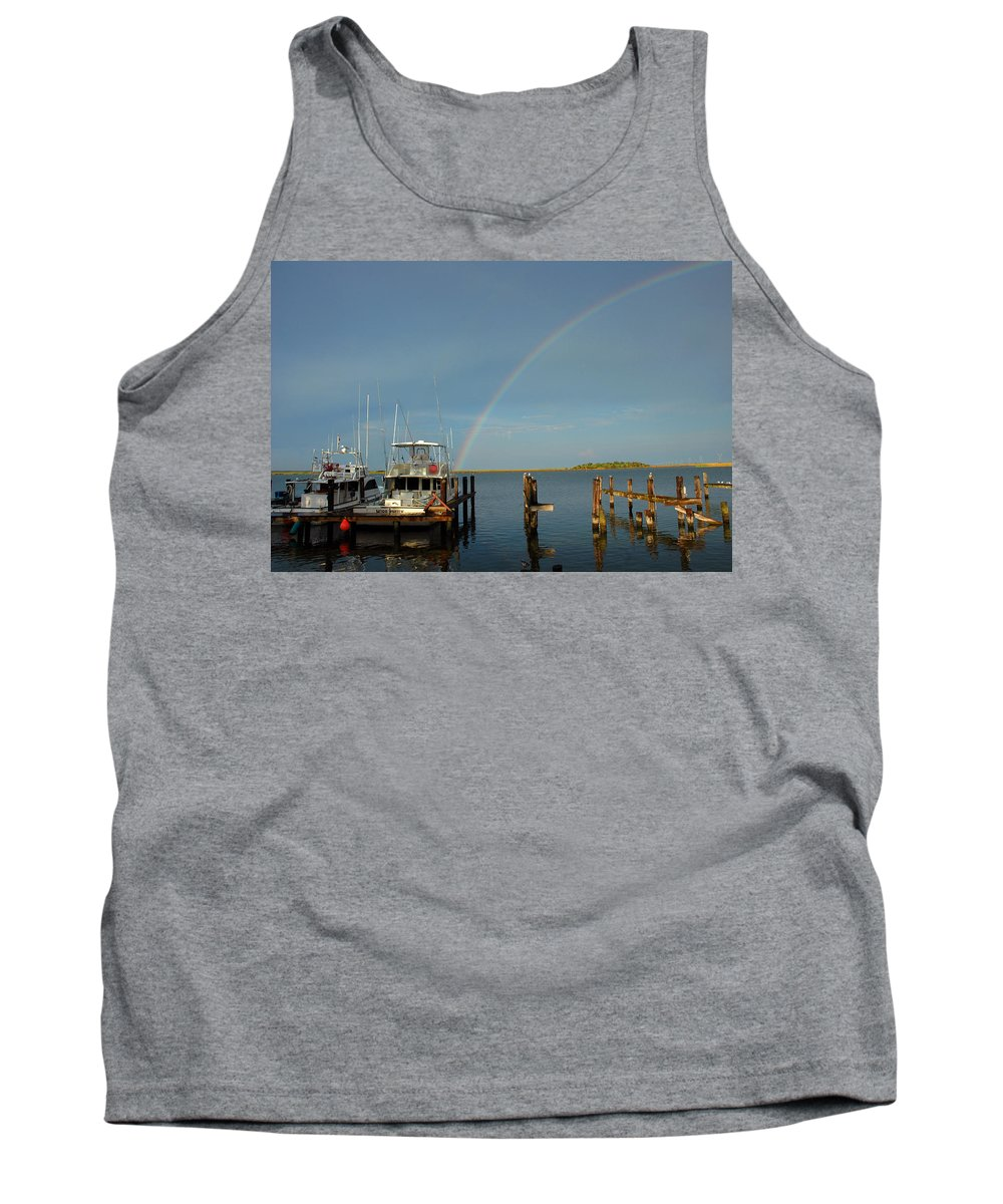 Rainbow Tank Top featuring the photograph Rainbow In Apalachicola Fl by Susanne Van Hulst