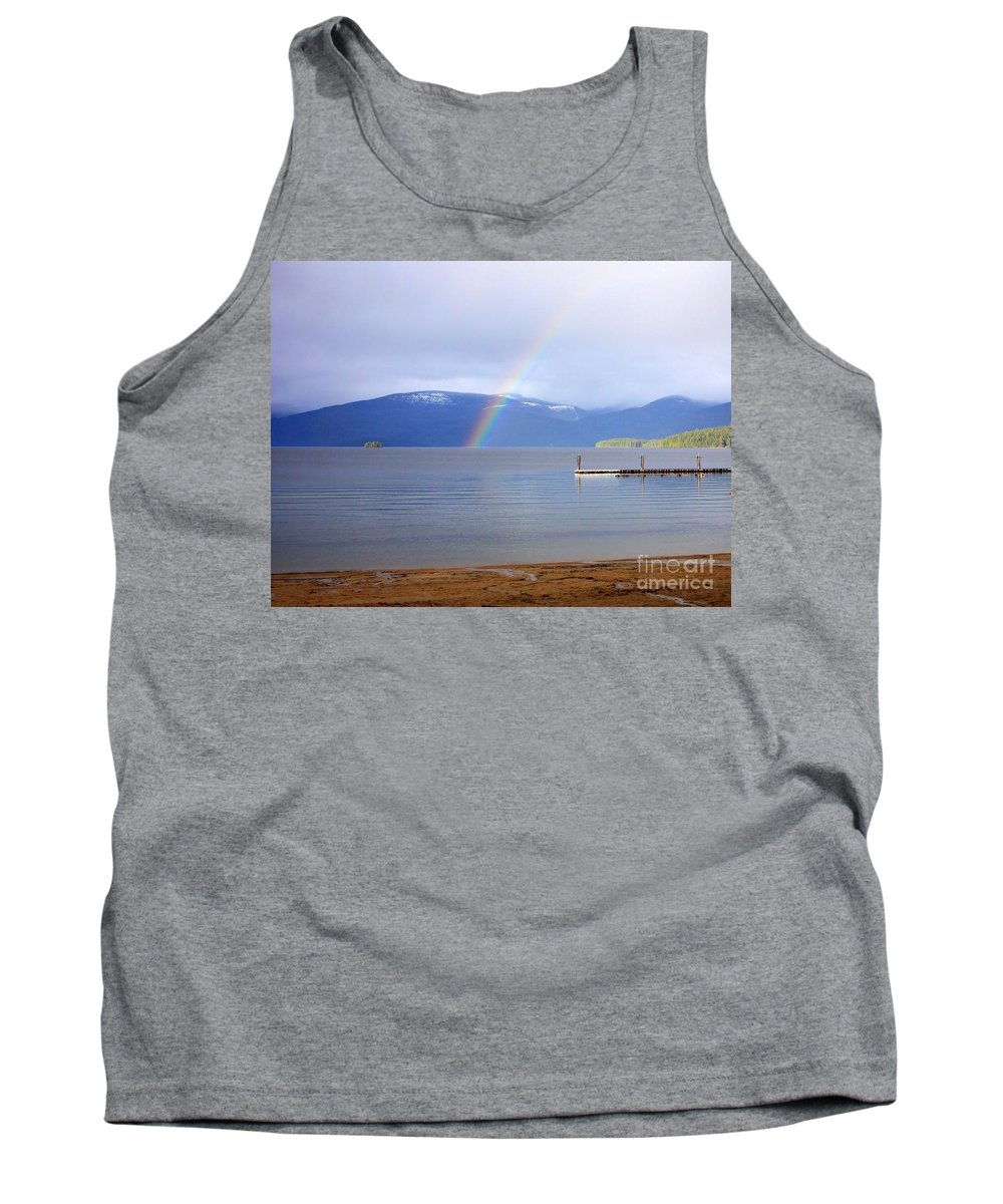 Rainbow Tank Top featuring the photograph Rainbow Over Priest Lake by Carol Groenen
