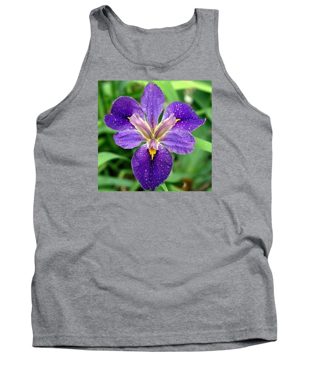 Louisiana Iris; Iris; Spring Flowers; Flowers; Purple Iris; Purple Flower; Garland Texas; Raindrops; Spring Bulb; Spring Flower; Iris Brevicaulis Tank Top featuring the photograph Raindrops by Kala King