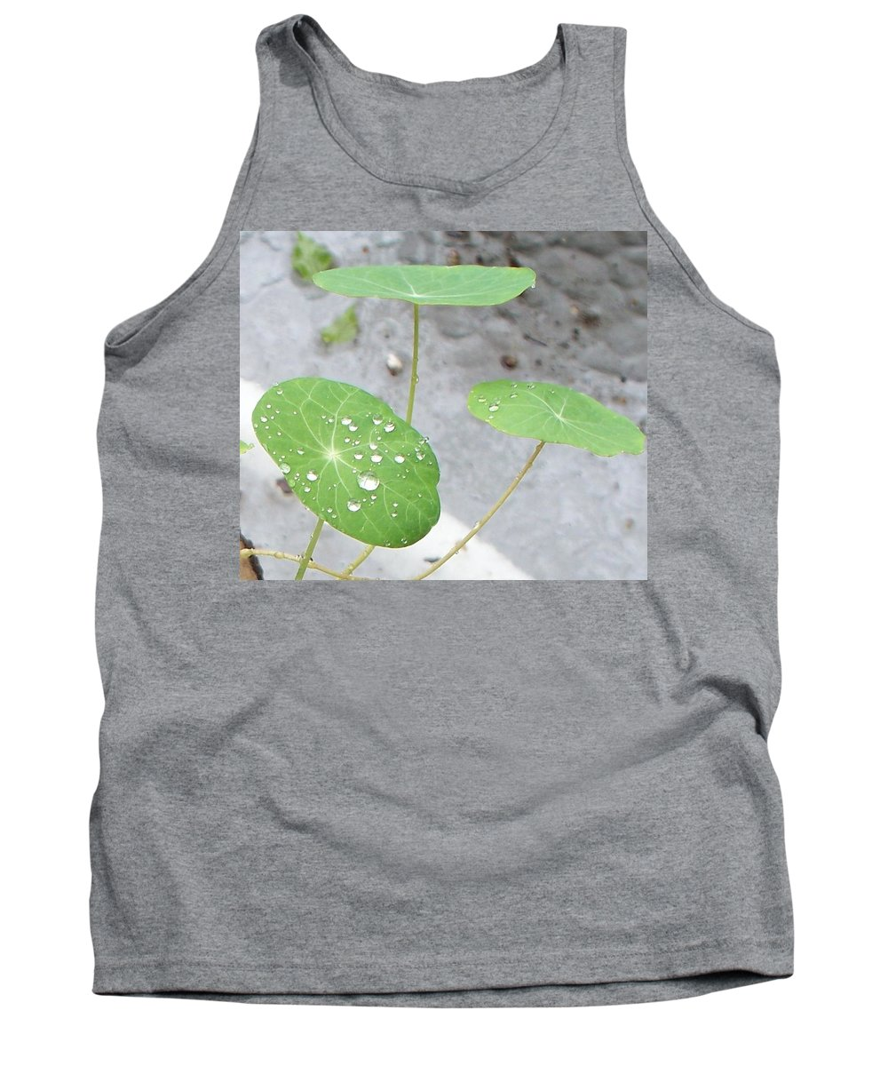 Floral Tank Top featuring the painting Raindrops On A Nasturtium Leaf by Eric Schiabor