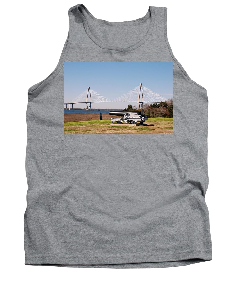 Photography Tank Top featuring the photograph Ravanel Bridge From The Patriot Point by Susanne Van Hulst