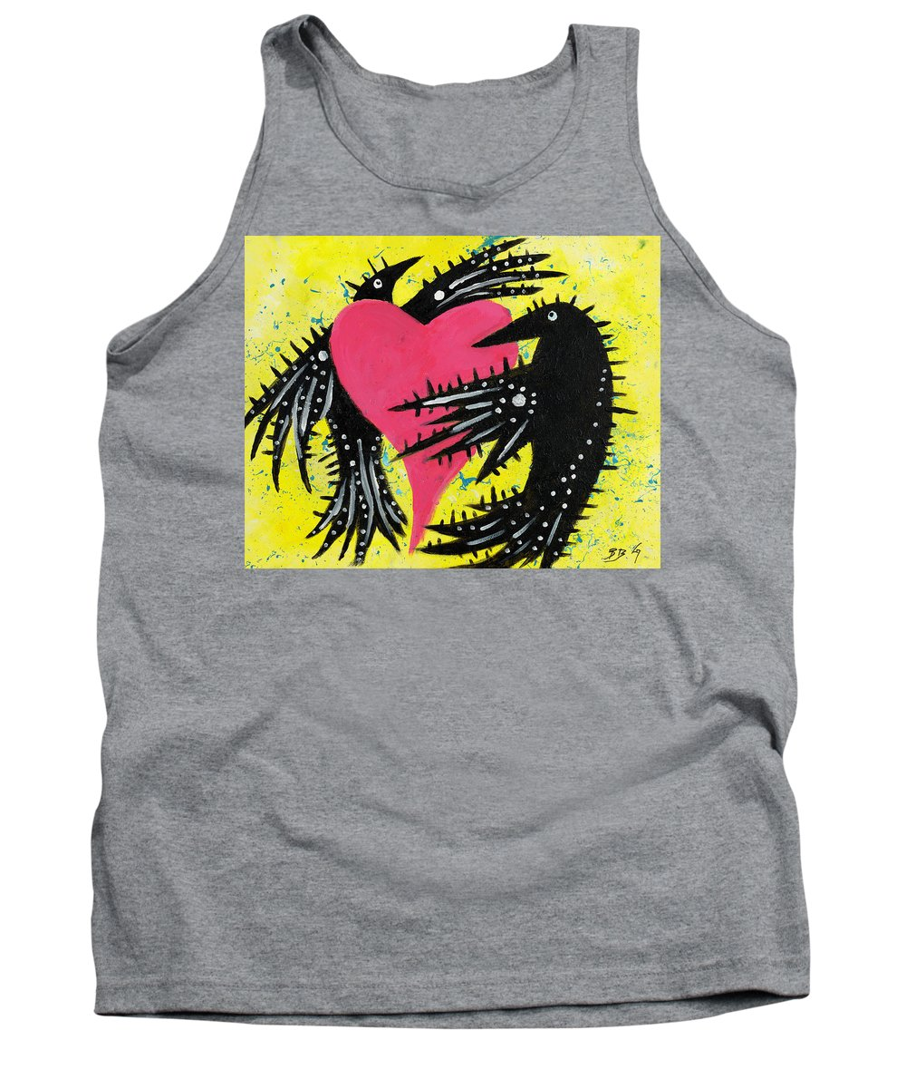 Ravens Tank Top featuring the painting Raven Love by Breanna Jacobs