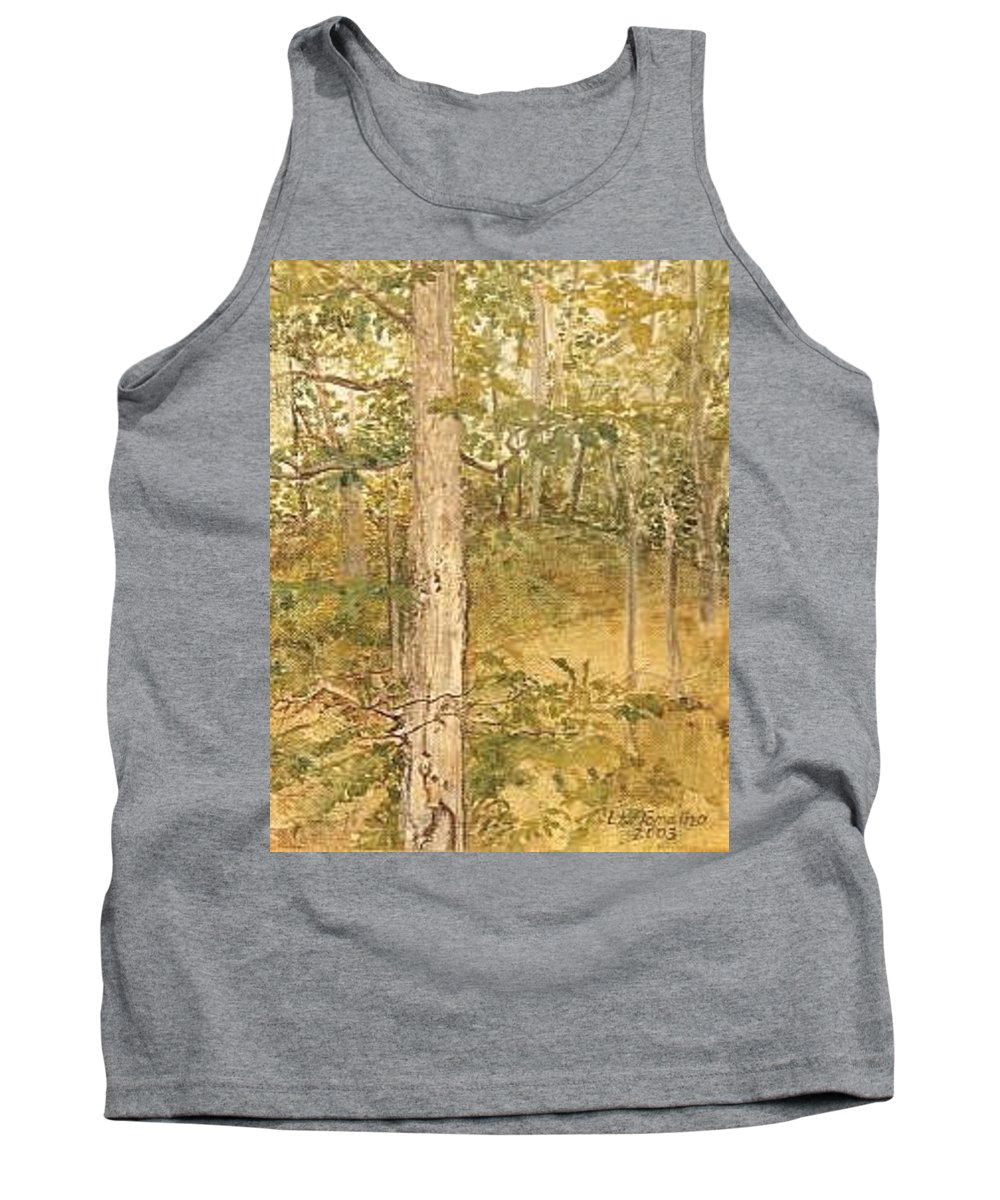 Trees Tank Top featuring the painting Raystown Lake by Leah Tomaino