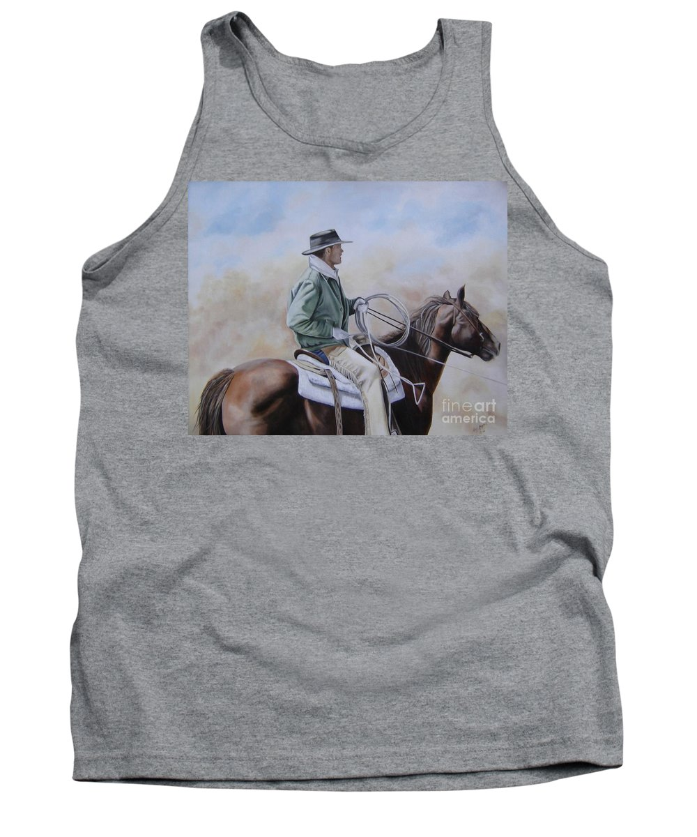 Ranch Tank Top featuring the painting Ready To Rope by Mary Rogers