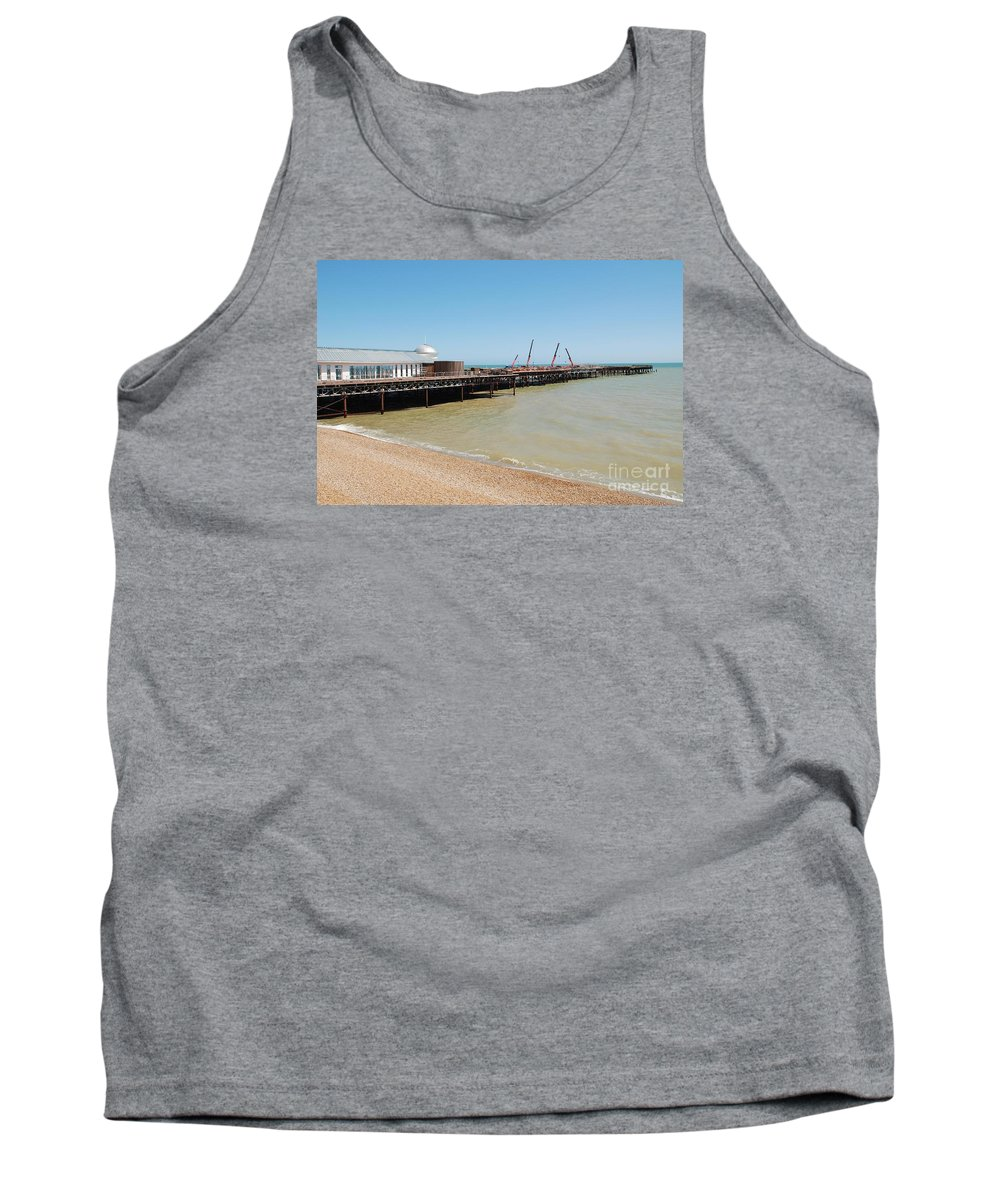 Hastings Tank Top featuring the photograph Rebuilding Hastings Pier by David Fowler