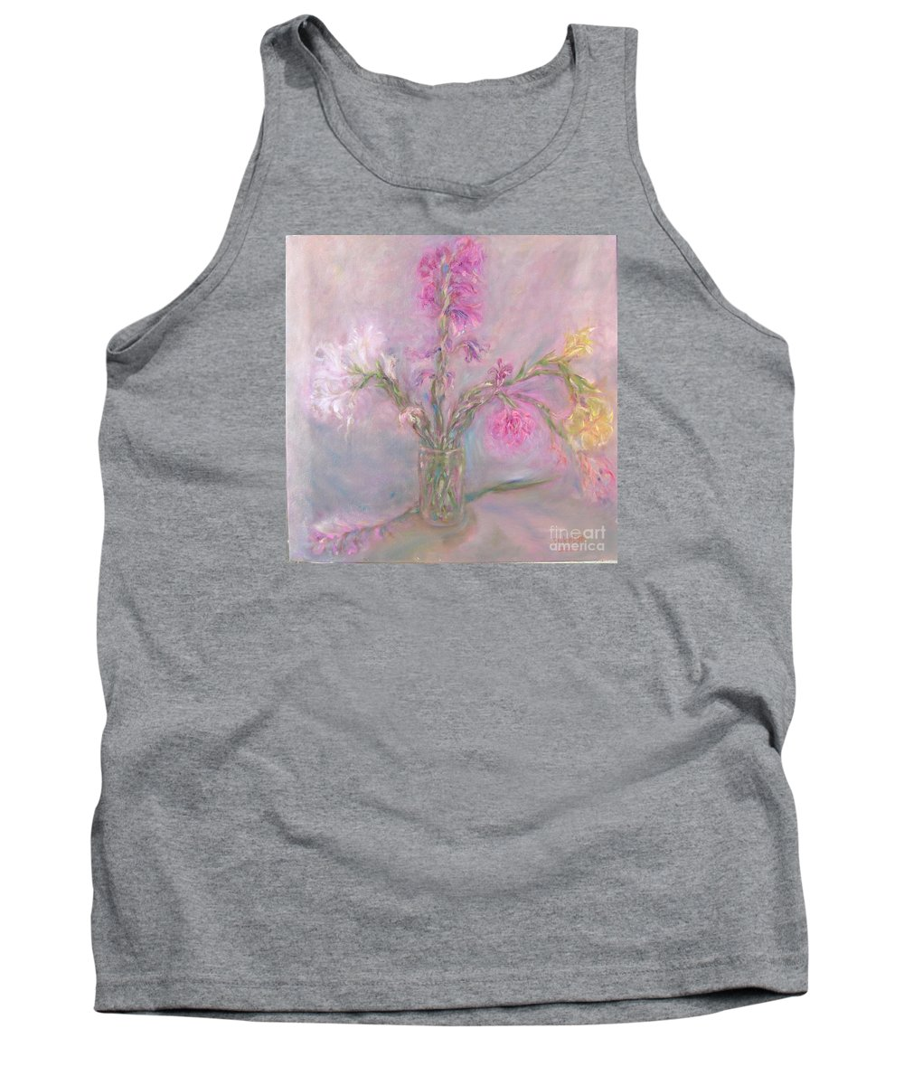 Pink Tank Top featuring the painting Recollection Of The Dreamy Bloom by Sukalya Chearanantana