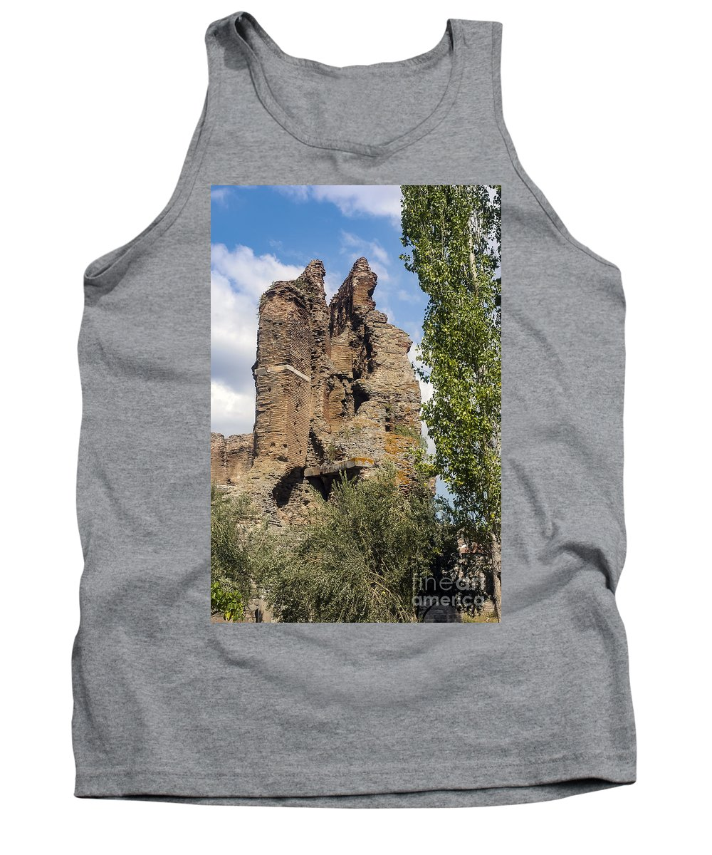 Bergama Pergamon Turkey Red Basilica Basilicas Serapis Temple Temples Byzantine Church Churches Place Of Worship Places Of Worship Structure Structures Building Buildings Brick Bricks Stone Stones Landmark Landmarks Tank Top featuring the photograph Red Basilica Scene 9 by Bob Phillips