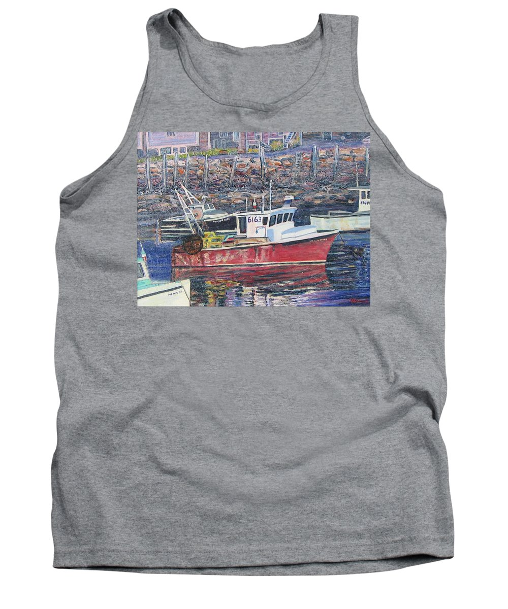 Boat Tank Top featuring the painting Red Boat Reflections by Richard Nowak