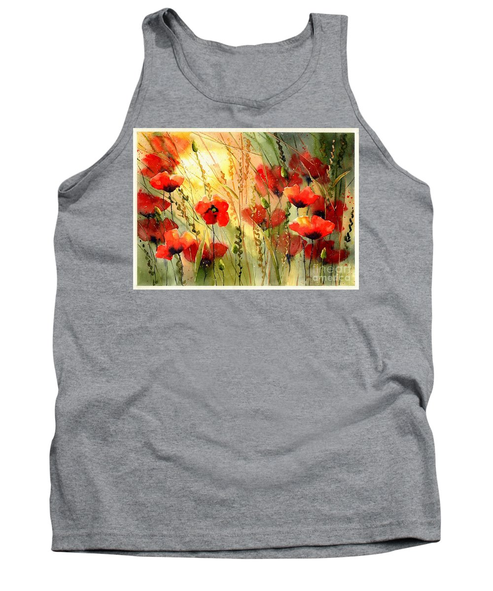 Red Tank Top featuring the painting Red Poppies Watercolor by Suzann Sines