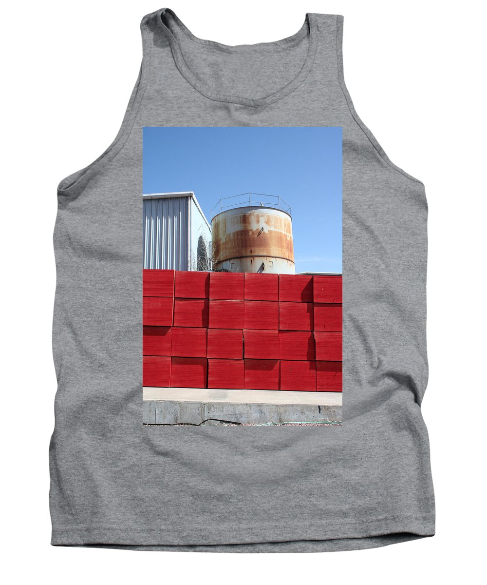 Red Tank Top featuring the photograph Red Rust And Blue by Ric Bascobert