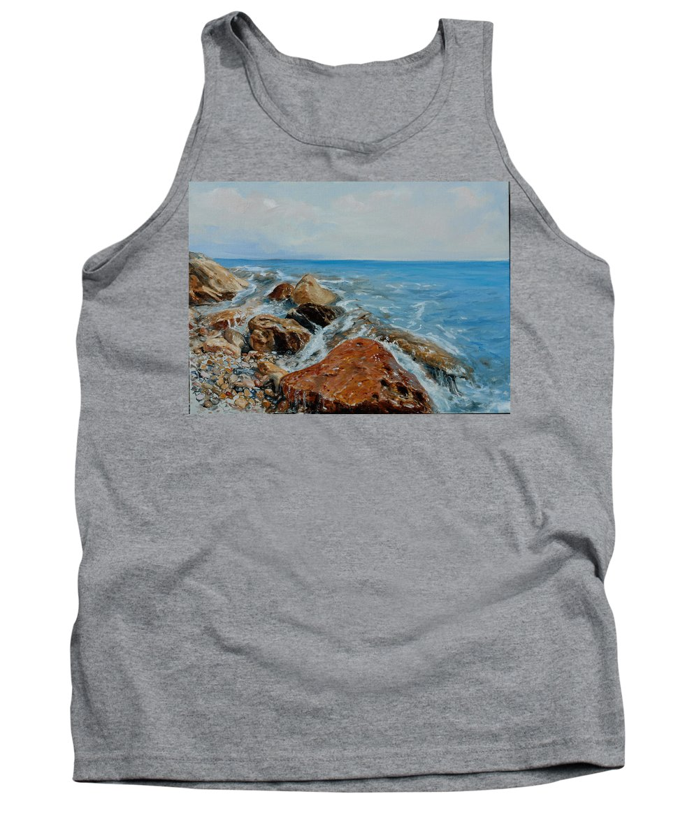 Seascape Tank Top featuring the painting Red Stone by Sefedin Stafa